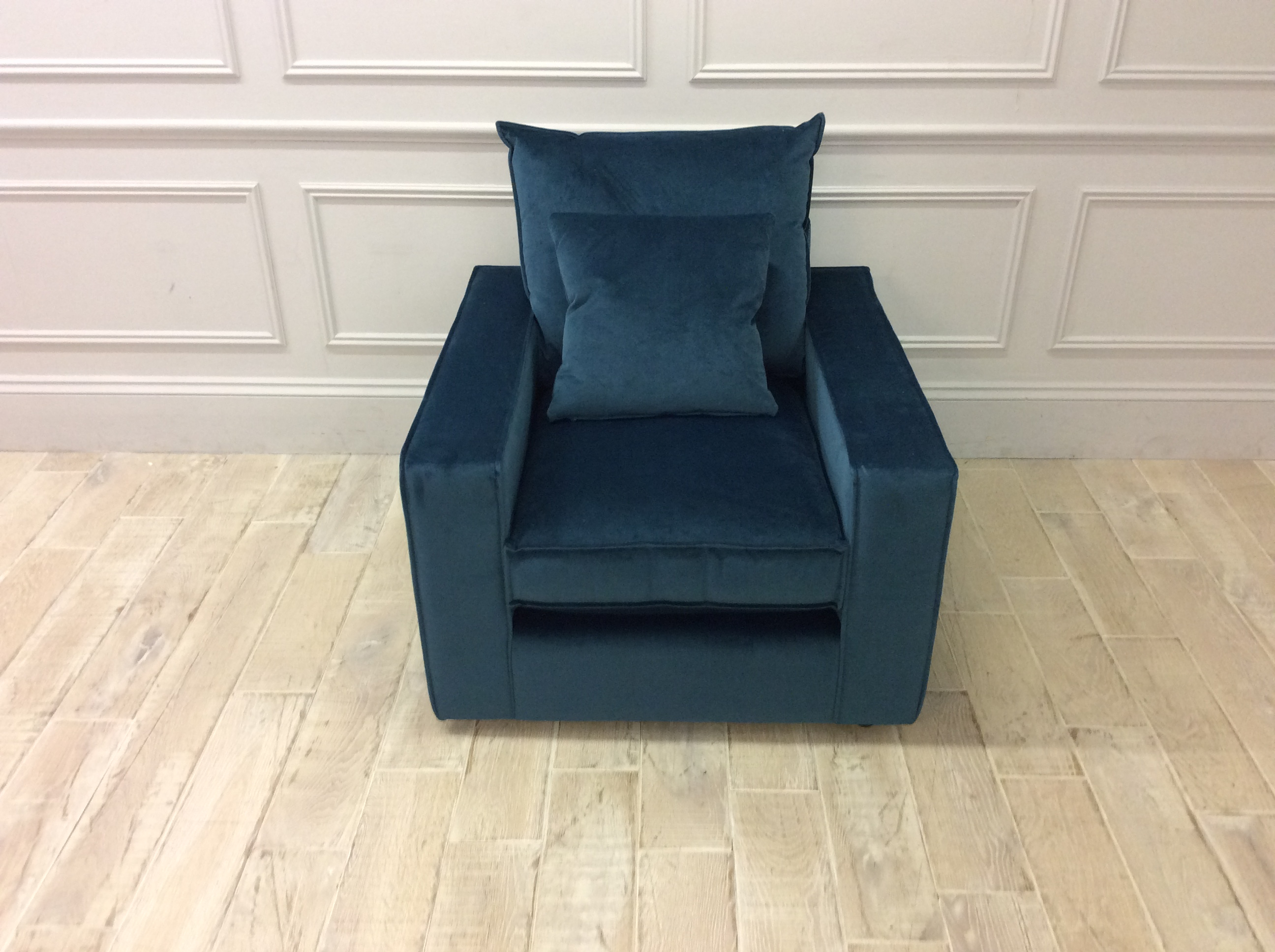 Product photograph showing Harry Chair In Mystere Smooth Velvet Peacock