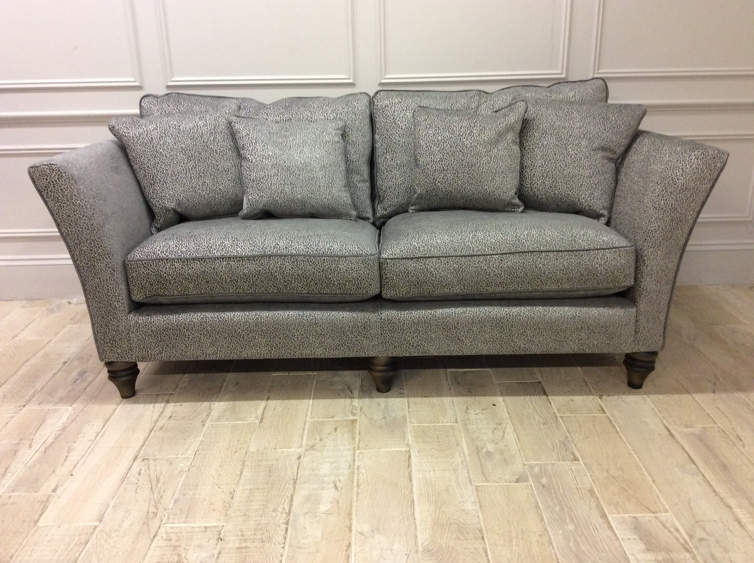 Product photograph showing Ampleforth Large Sofa In Garbo Mosaic Steel Fabric With Scuff On Arm