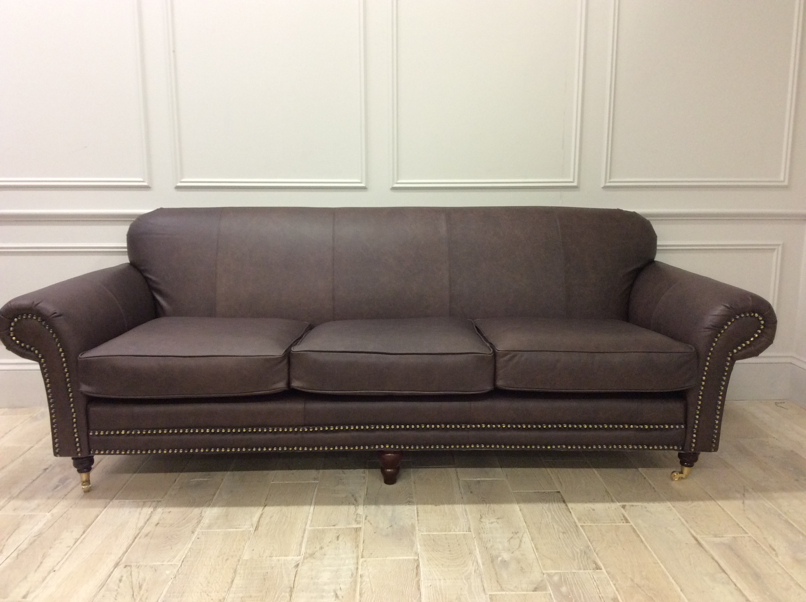 Product photograph showing Chelsea 4 Seater Sofa In Dune Coffee Leather