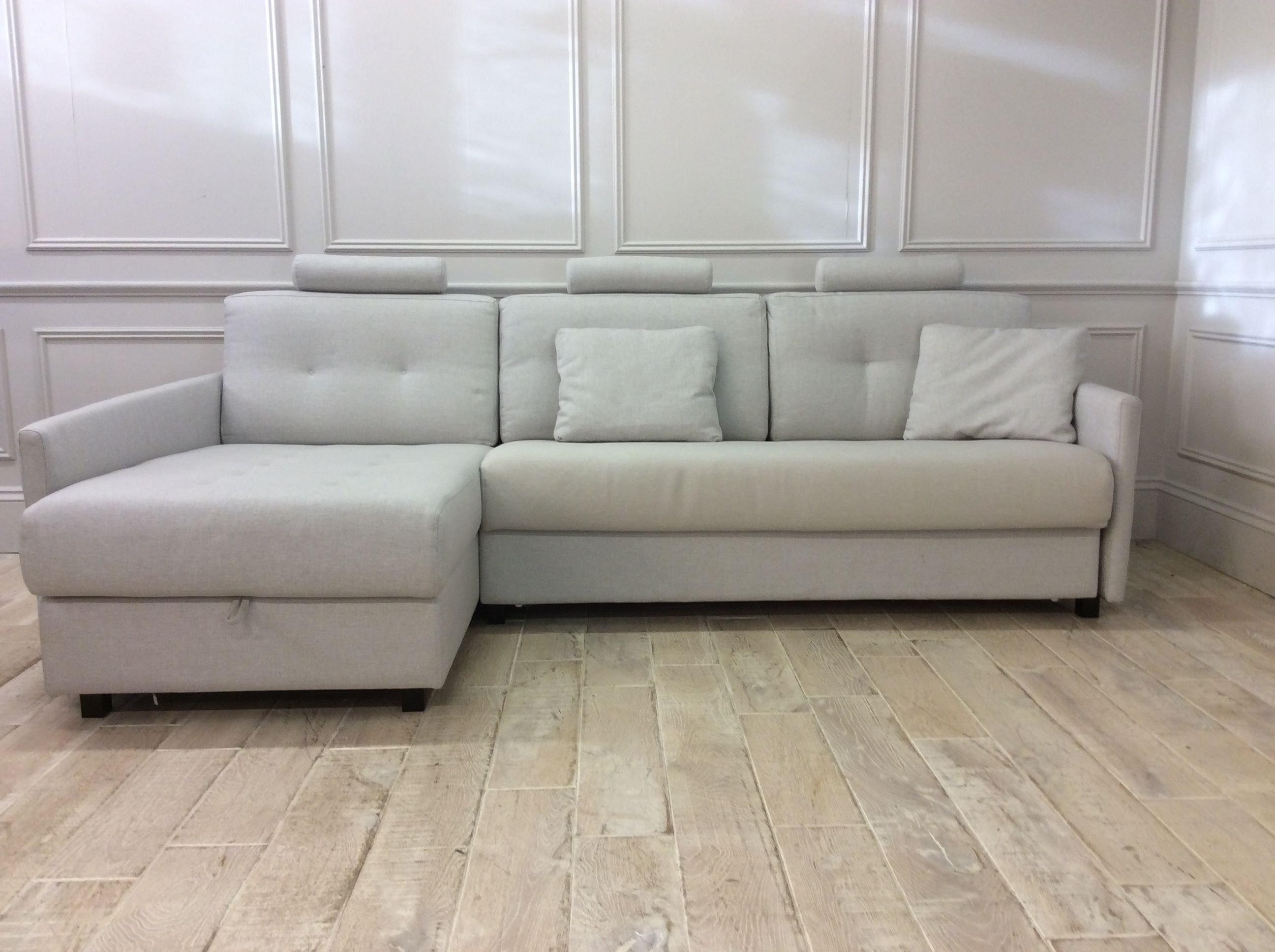 Product photograph showing Alexi 3 Seater Sofa Bed With Left Hand Storage Chaise And Straight Arms In Libra 7 Fabric