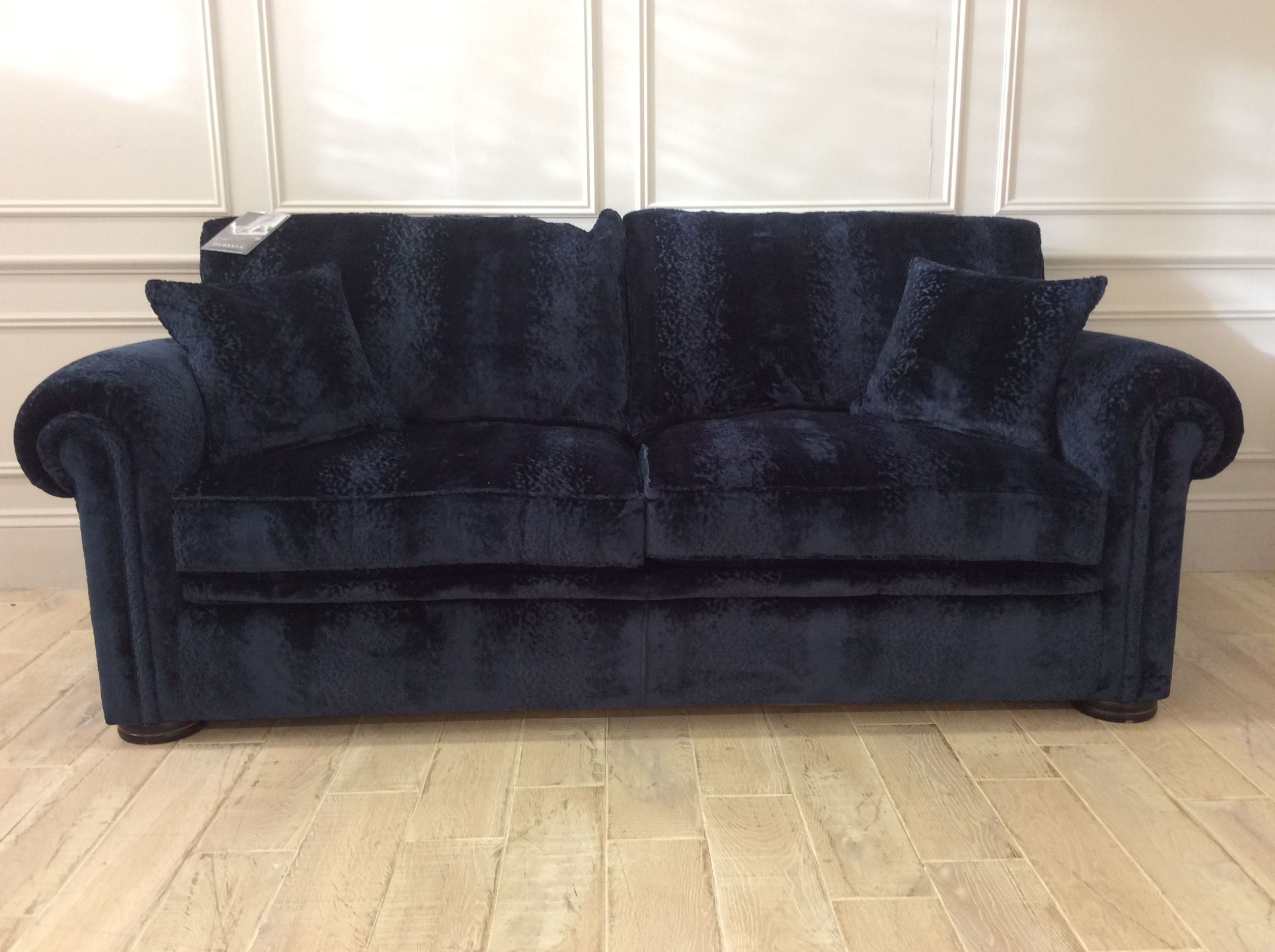 Product photograph showing Duresta Waldorf 3 Seater Sofa Bed In Flavia Sapphire Velvet R9