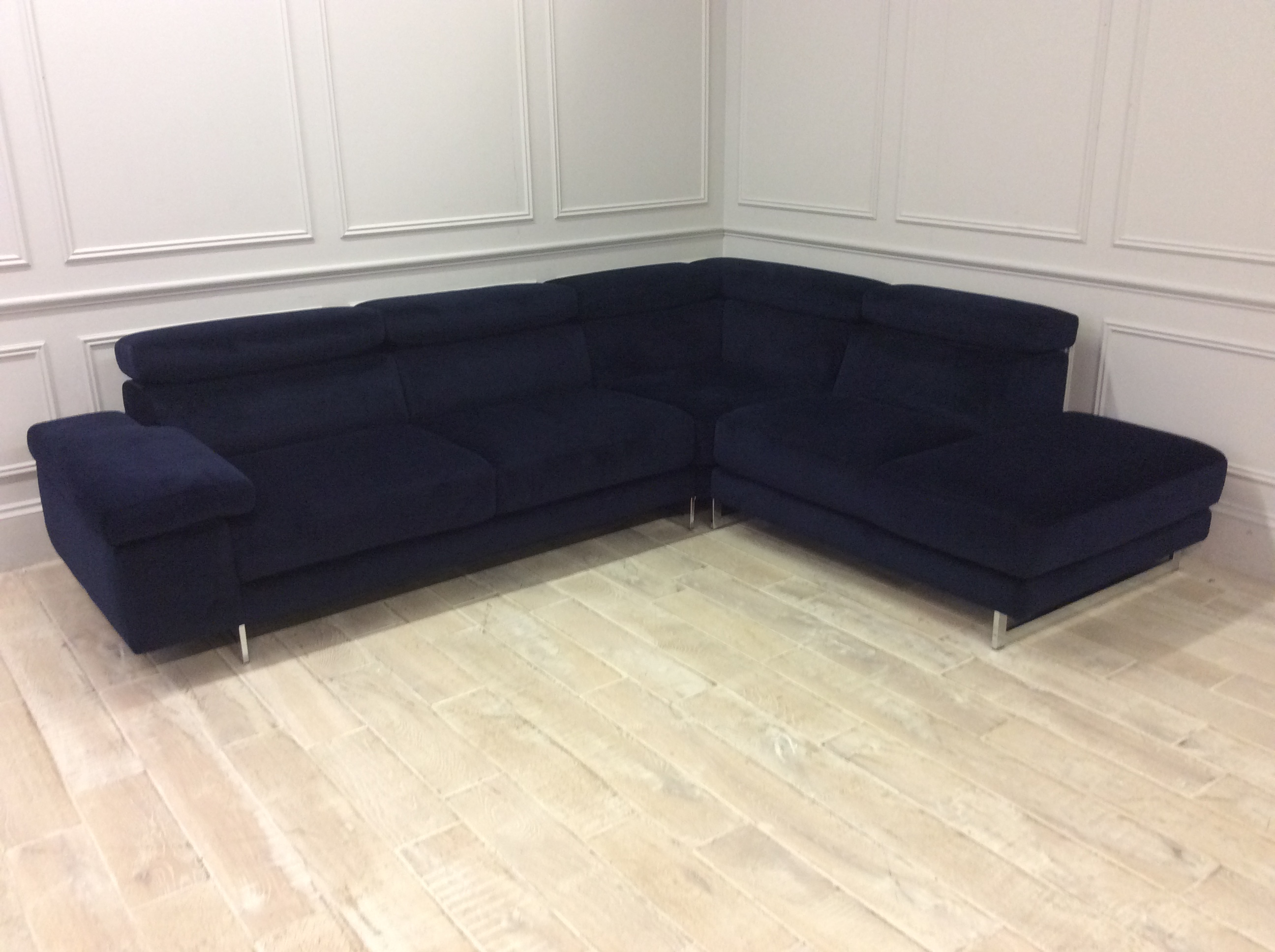 Product photograph showing Milano Chaise Sofa With Adjustable Headrests On Corner - Right 3 Units In Brezza 04