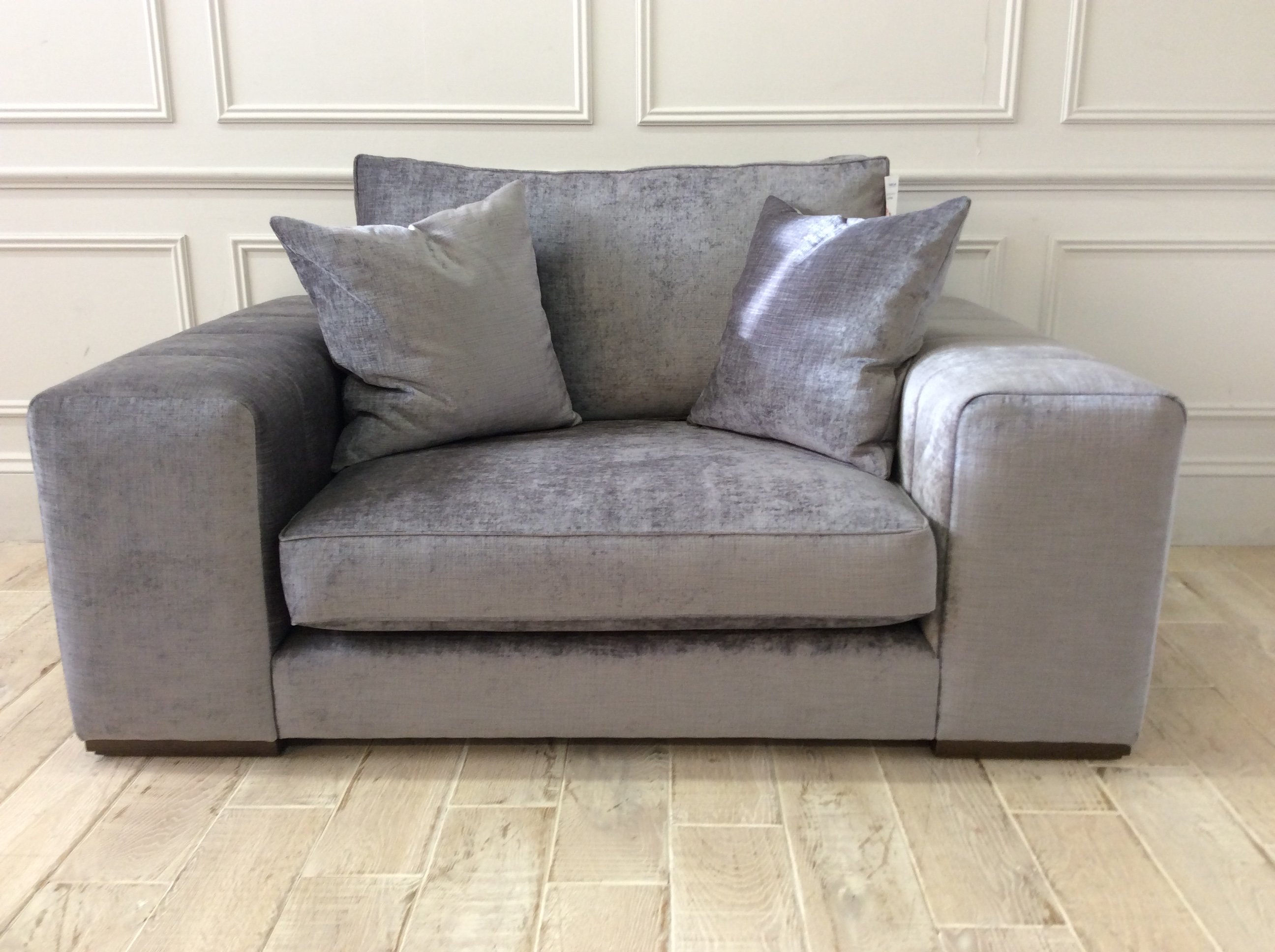 Product photograph showing Epping Loveseat In Carrera Battleship