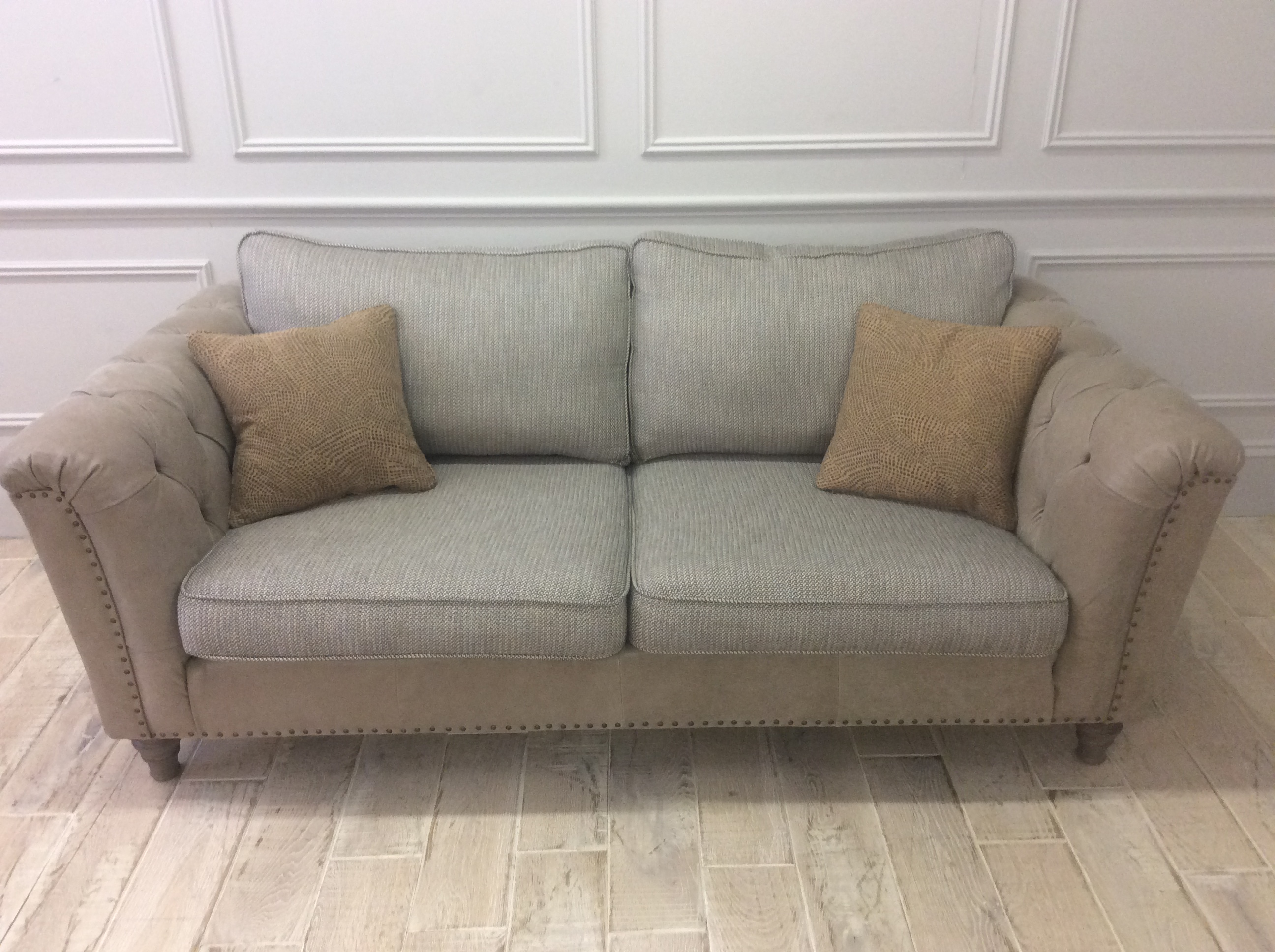Product photograph showing Dorset Leather And Fabric Medium Sofa