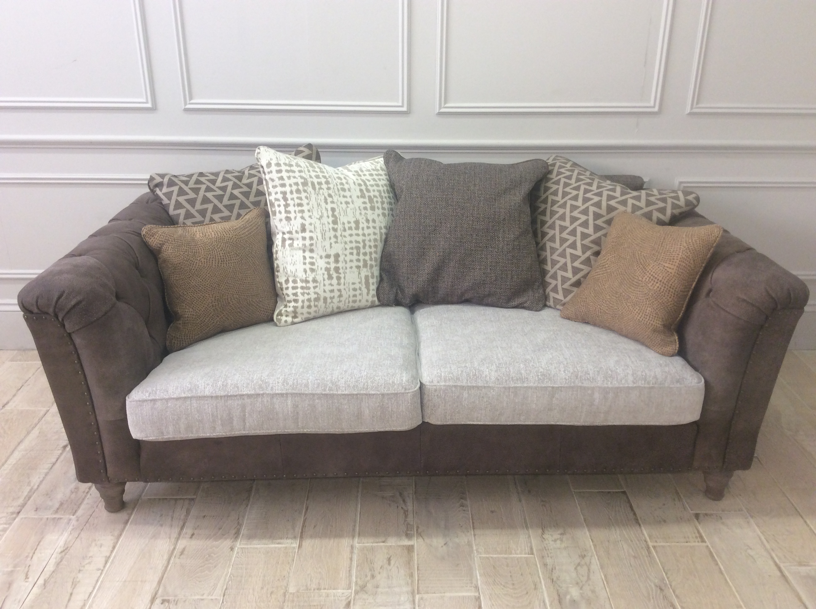 Product photograph showing Dorset Leather And Fabric Large Scatter Back Sofa In Cotswold Whetham