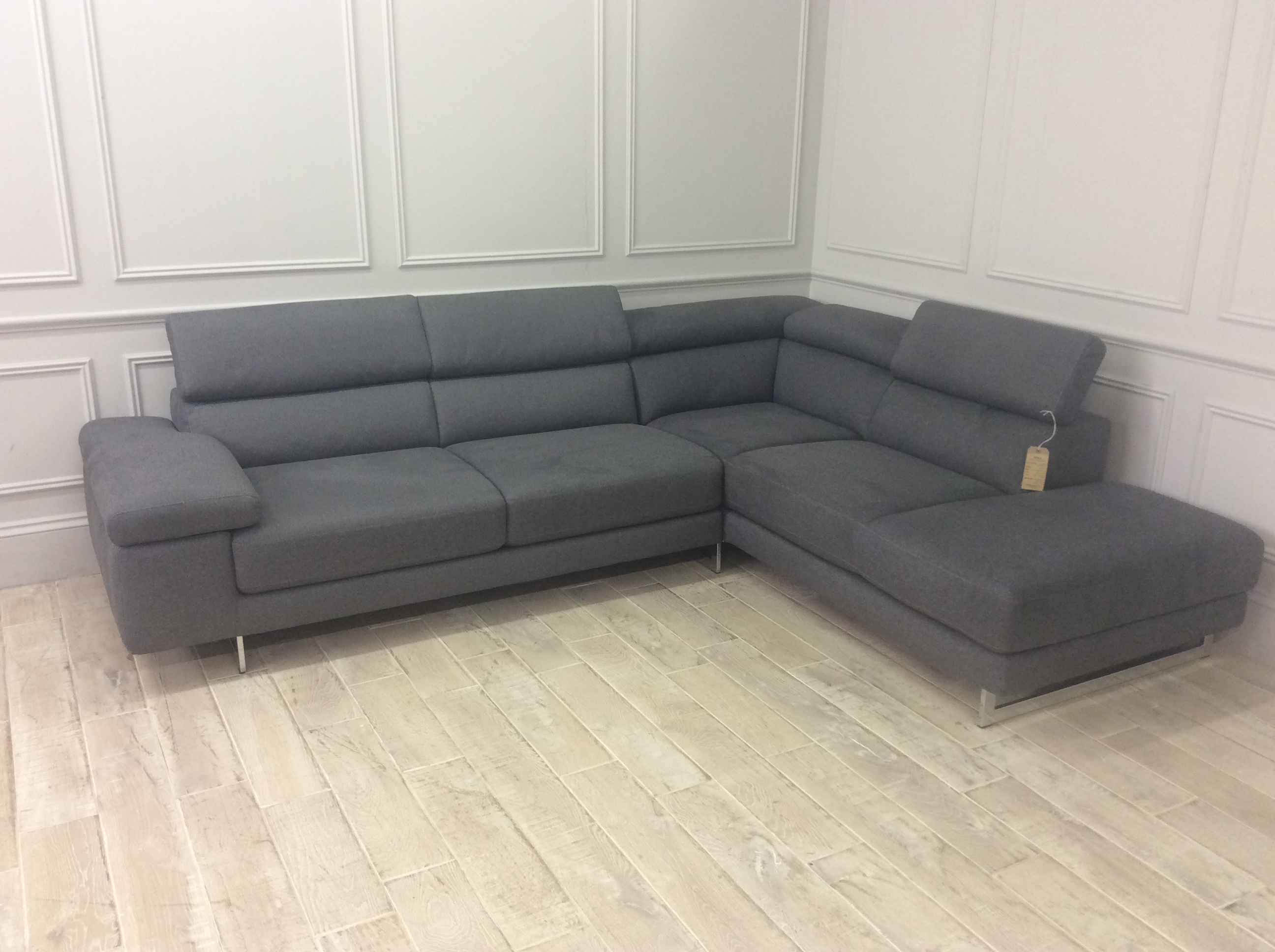 Product photograph showing Milano Corner Chaise Right Hand In Levante 02 Fabric Consists Of 2 Units