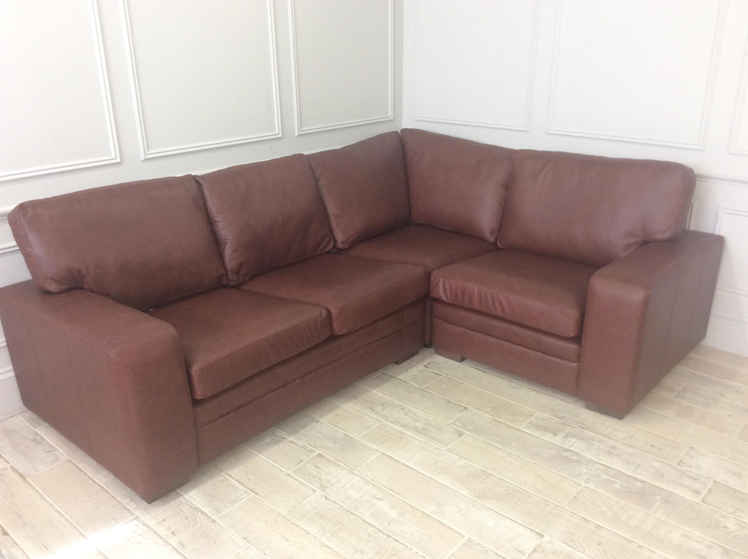 Product photograph showing Sloane 2 5 X 1 5 Seater Corner Sofa In Dune Hazel Leather 3 Units