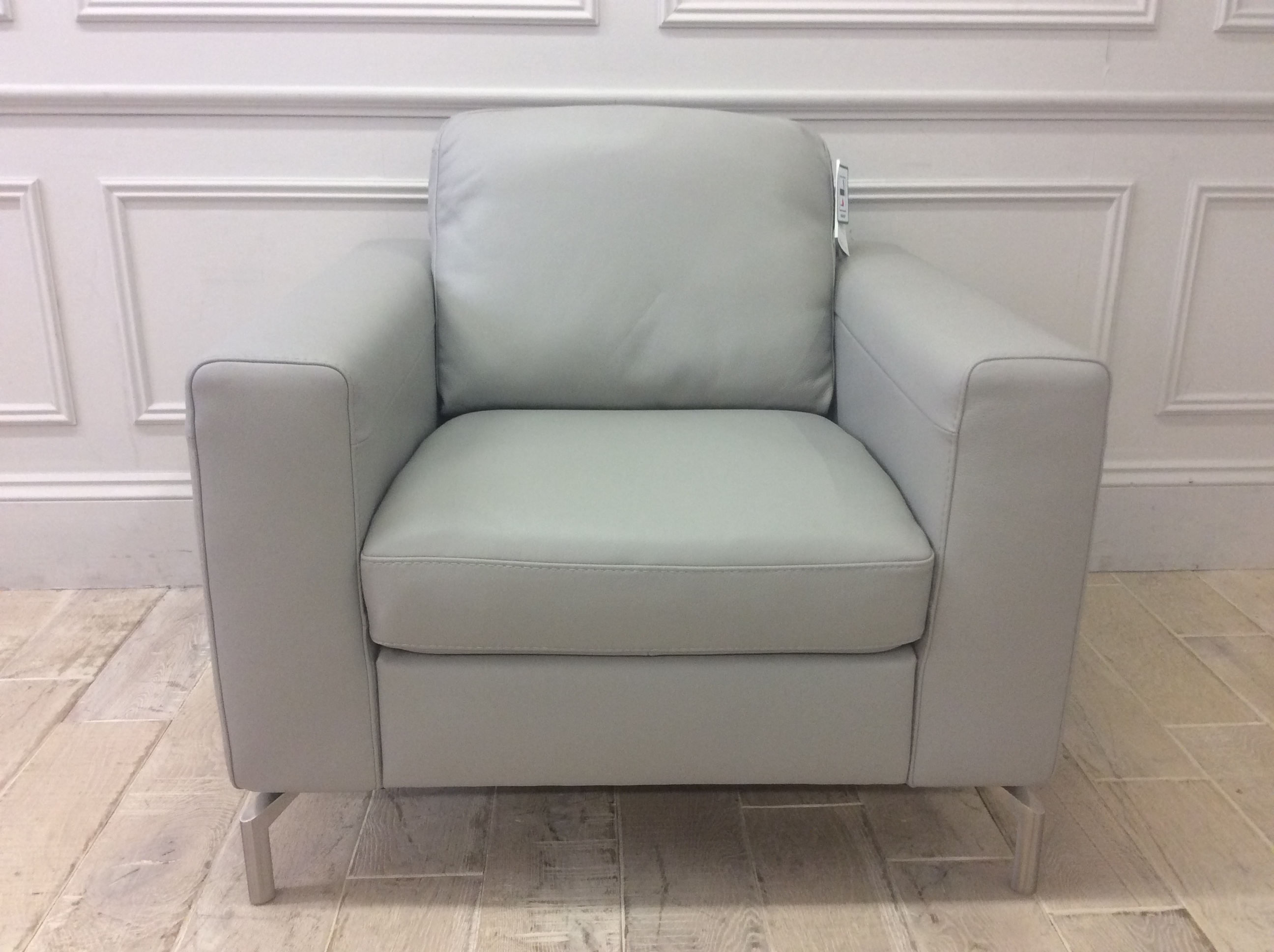 Product photograph showing Elena Armchair In Italian 10bz Leather With Chrome Legs
