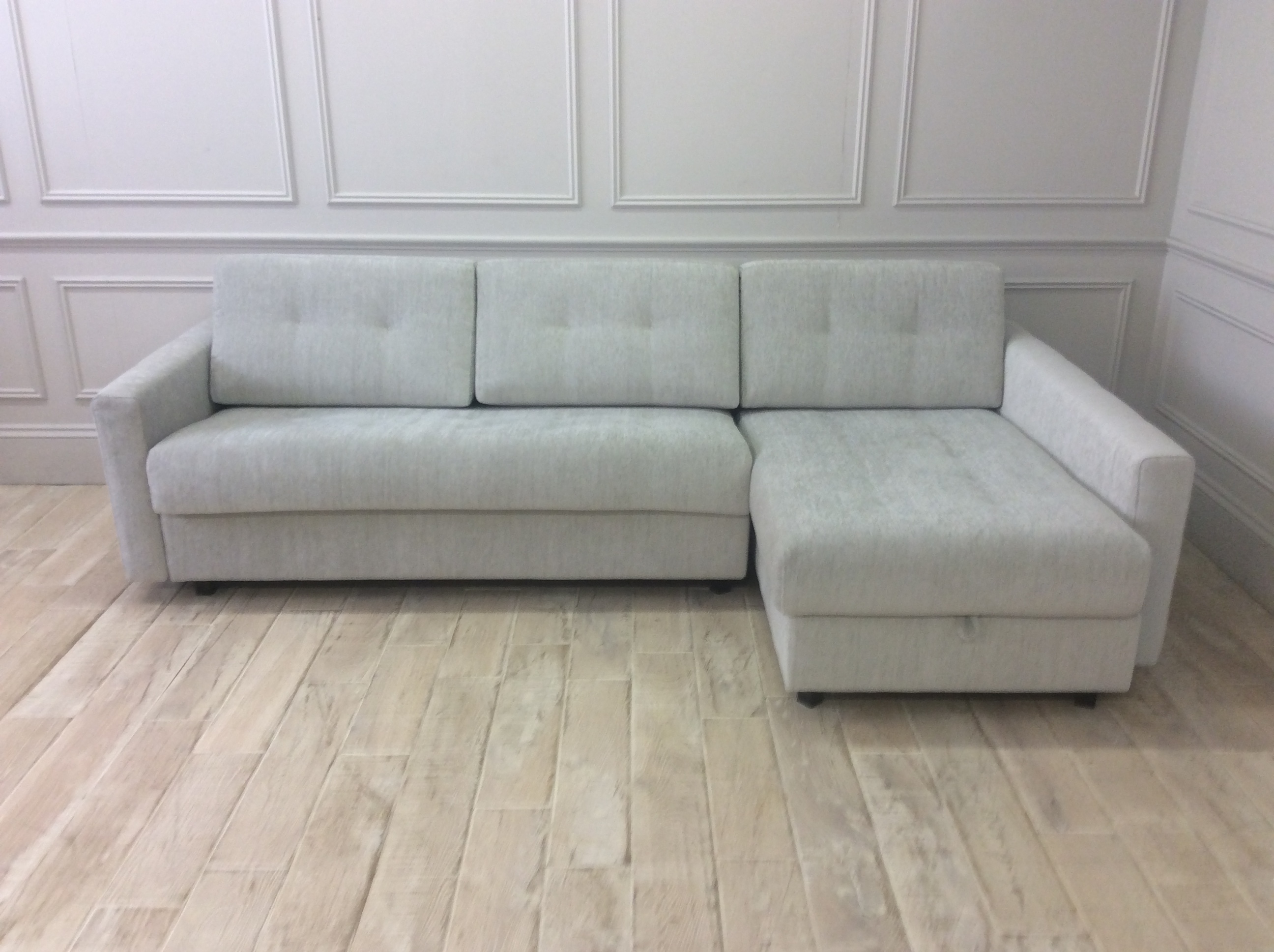 Product photograph showing Alexi 3 Seater Sofa With Right Hand Facing Storage Chaise And Straight Arms In Pascal 01 Fabric