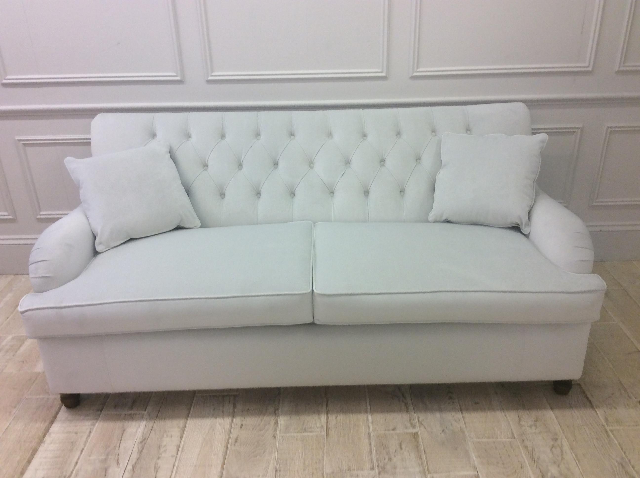Product photograph showing Howard 3 Seater Sofa Bed Amalfi Hard Wearing Velvet Dove