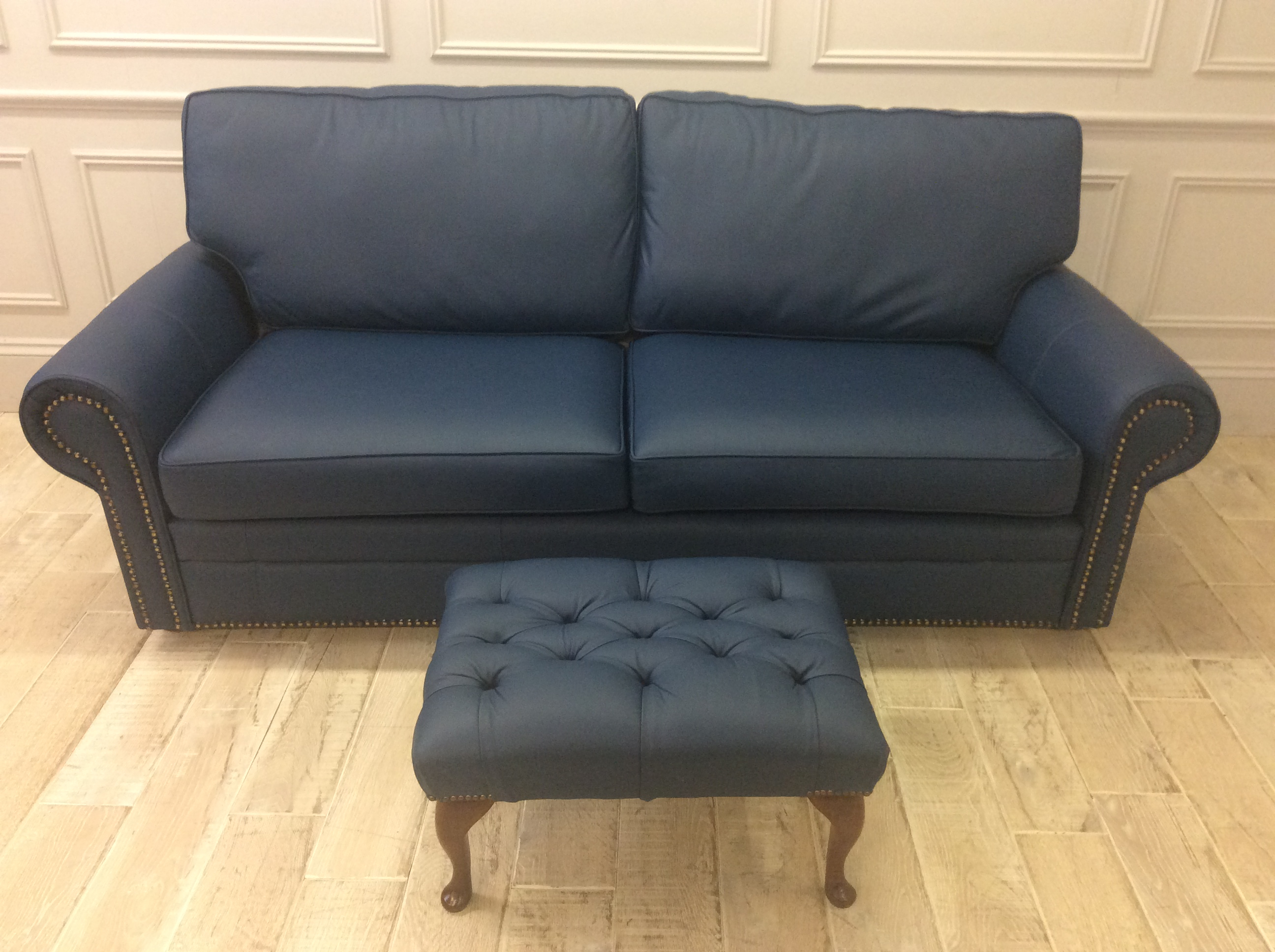 Product photograph showing Canterbury 3 5 Seater Sofa Queen Anne Footstool In Shelly Majolica Leather