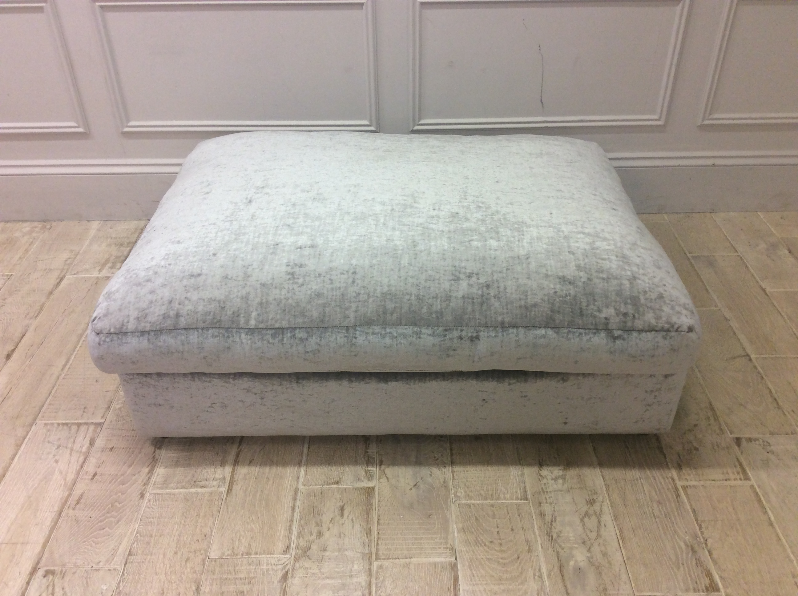 Product photograph showing Haymarket Extra Deep Foot Stool In Modena - Silver Crushed Velvet