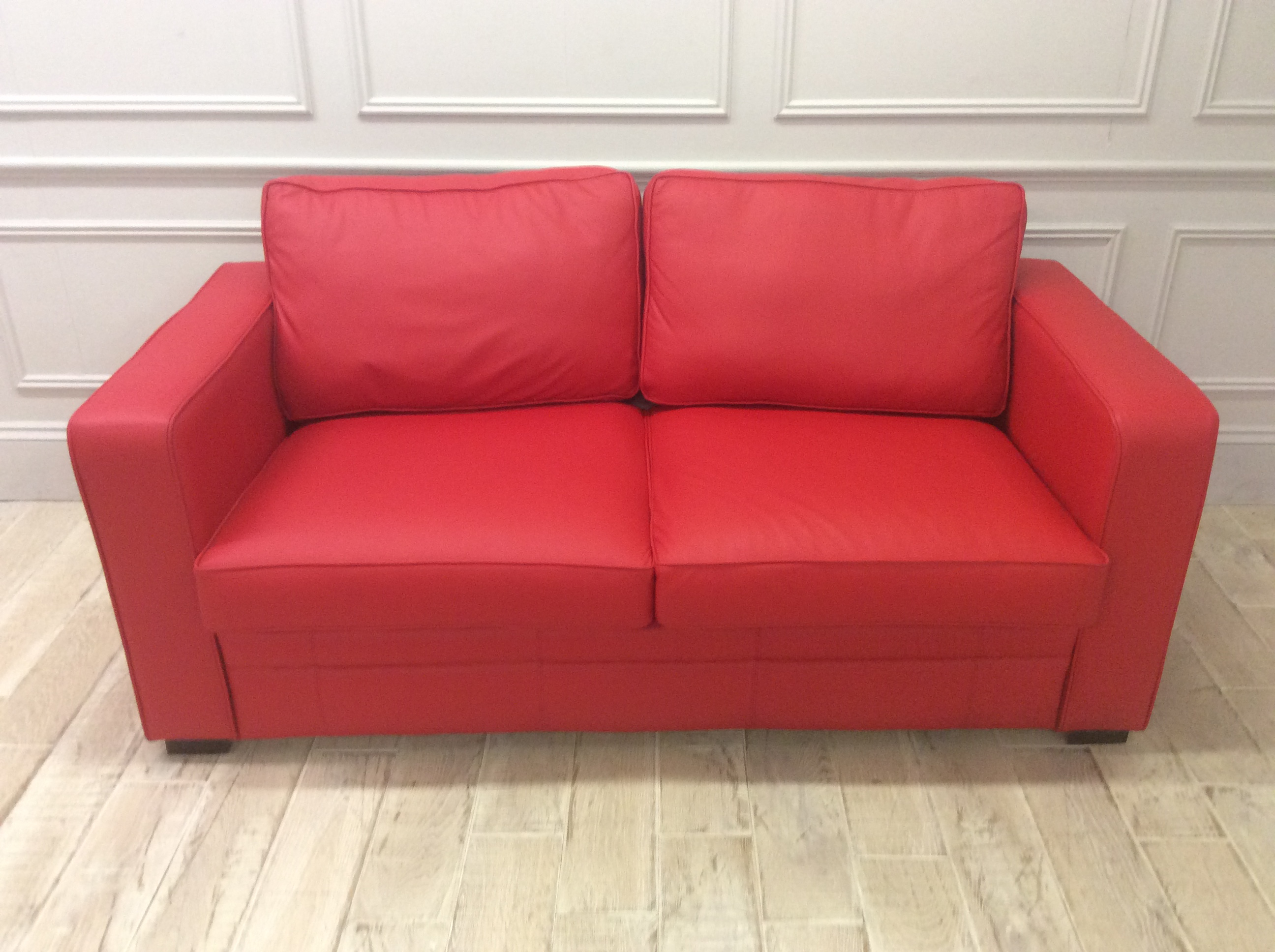 Product photograph showing St James 3 Seater Sofa In Shelly Flame Red Leather