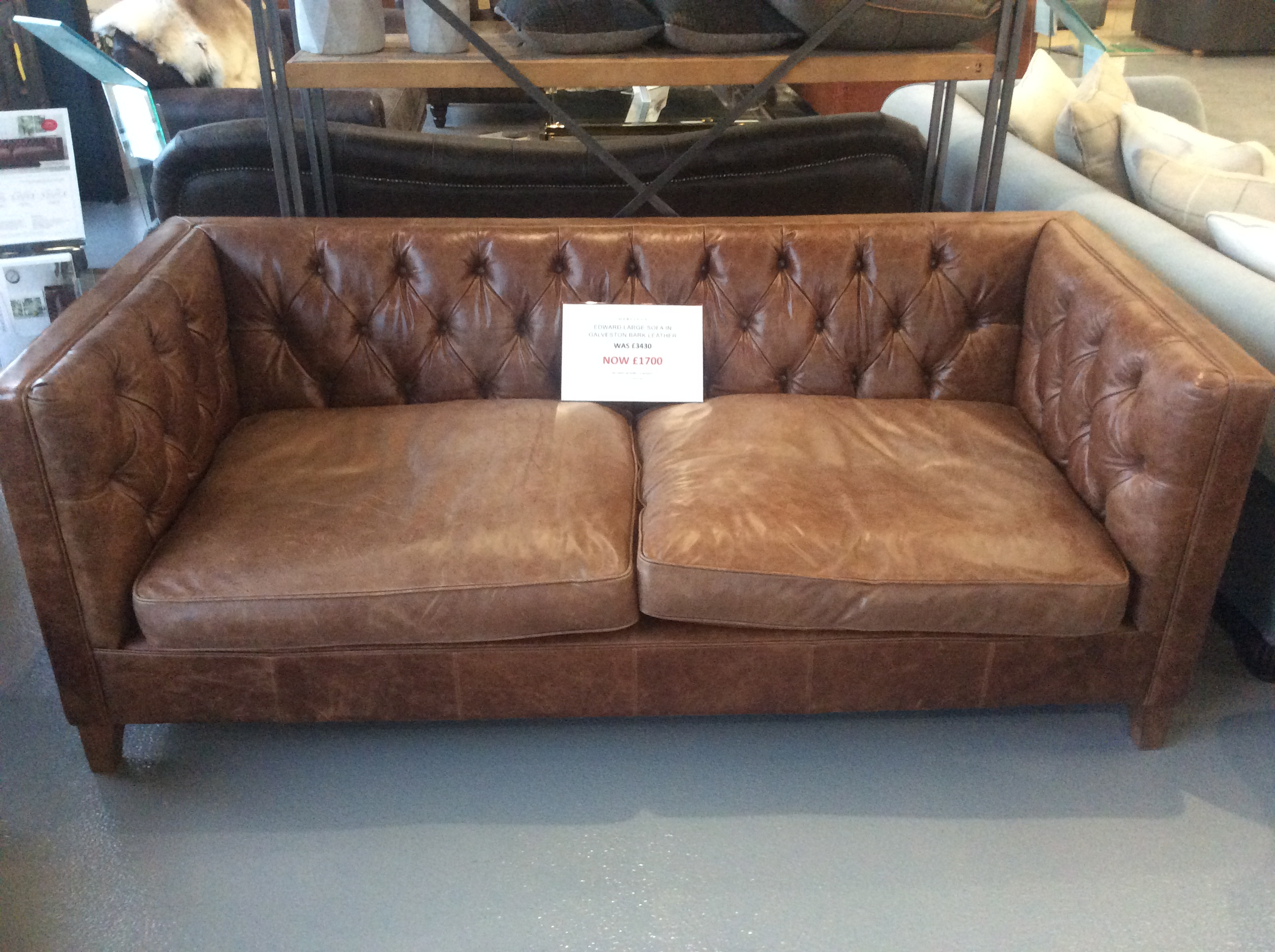 Product photograph showing Edward Large Sofa In Galveston Bark Leather