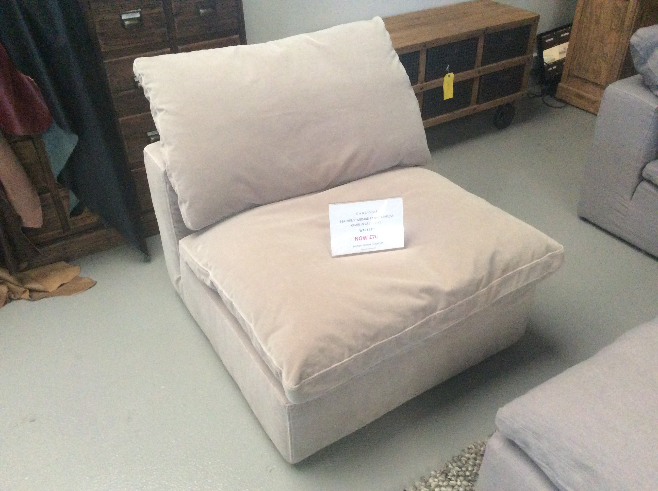 Product photograph showing Feather Standard Fabric Armless Chair In Grey Velvet