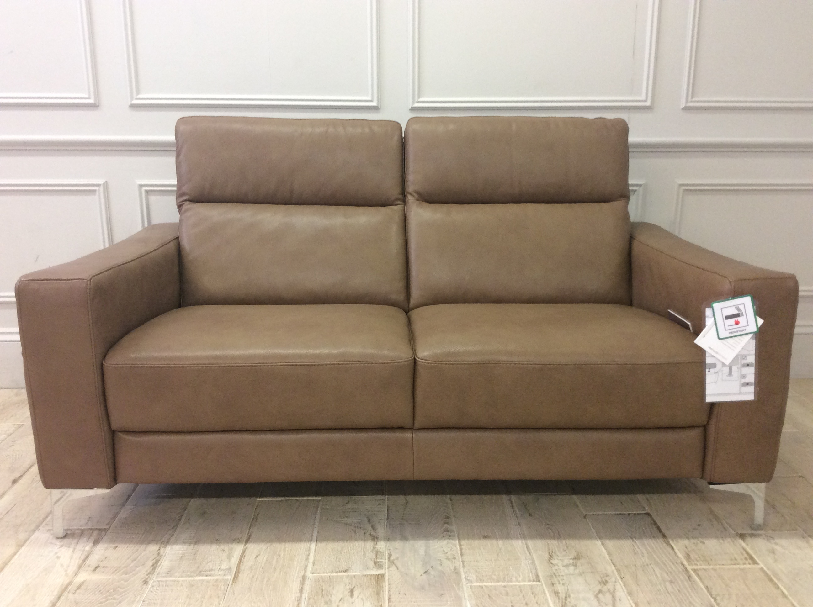Product photograph showing Orlando 2 Seater With Chrome Legs In 15wi Light Brown Leather