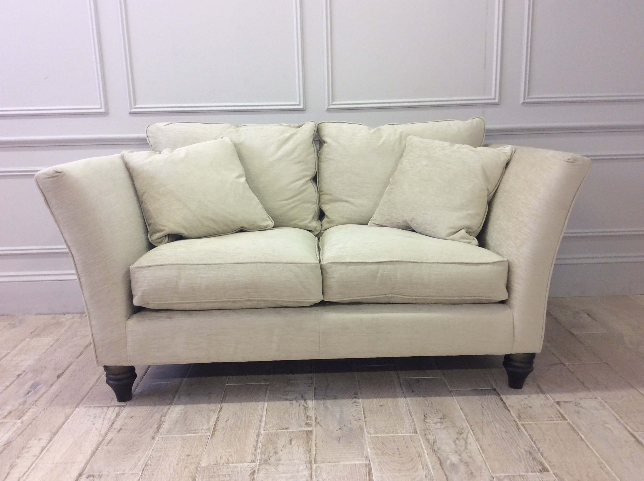 Product photograph showing Ampleforth Small Sofa In Garbo Plain Champagne Fabric