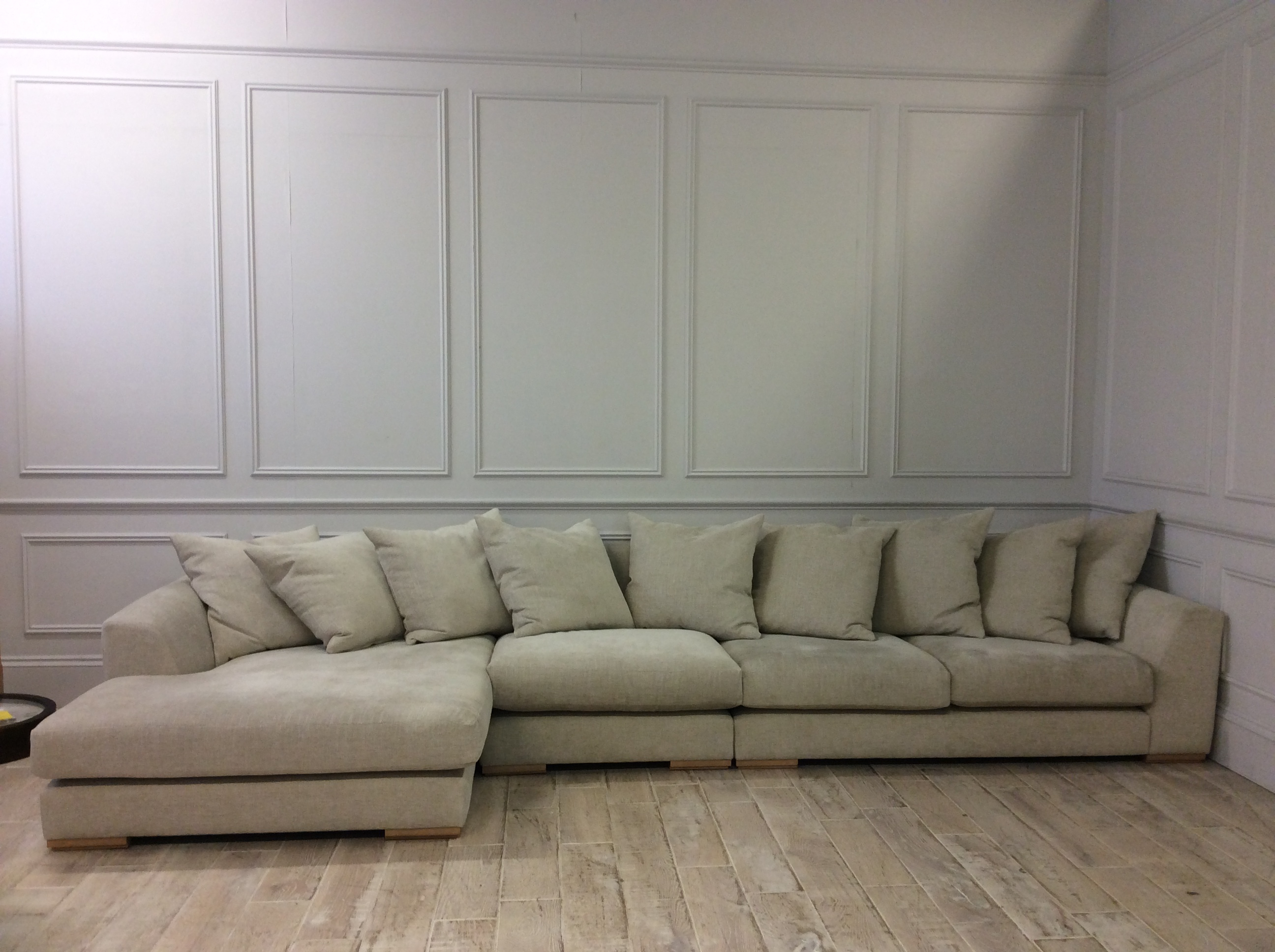 Product photograph showing Devon Large Chaise Corner Sofa In Discontinued Habitat Chenille Mist Fabric