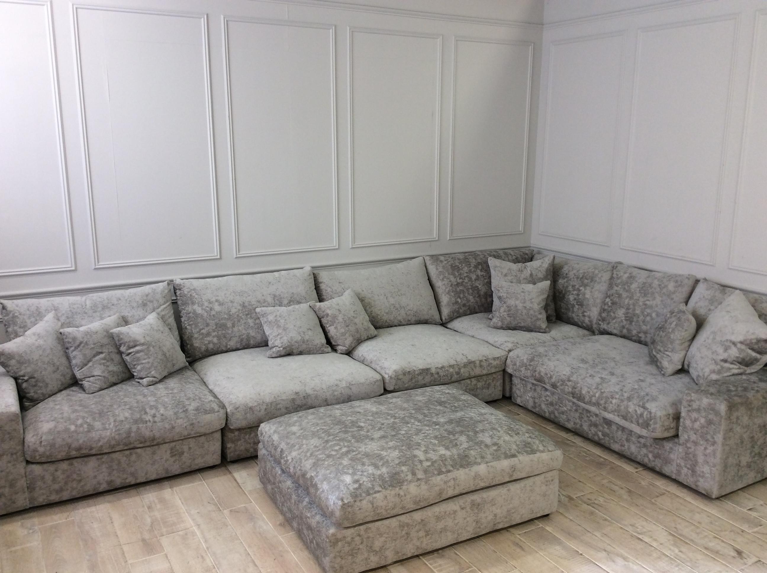 Product photograph showing Haymarket Extra Deep Corner Sofa With Footstool In Crombie Truffle Velvet