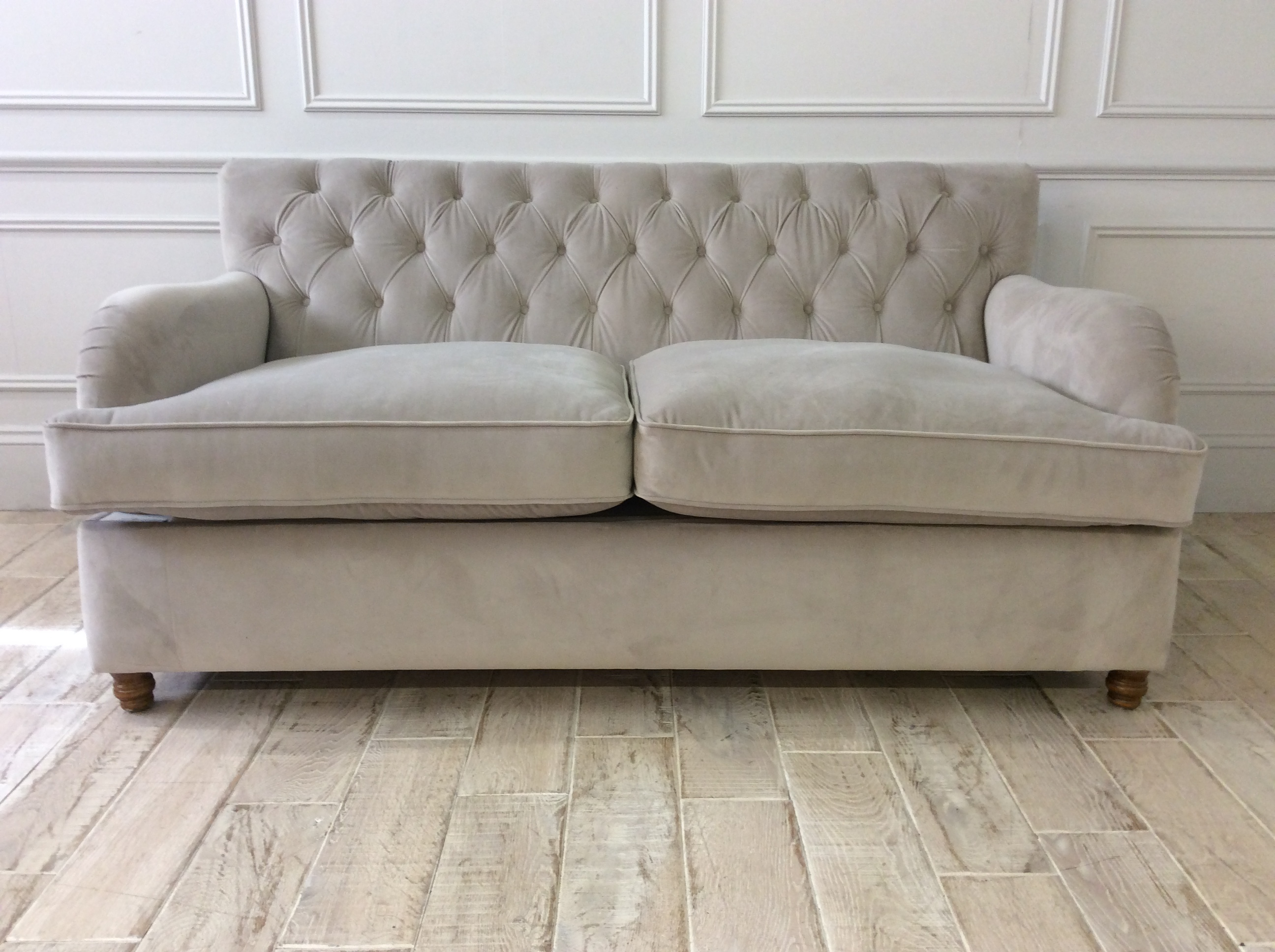 Product photograph showing Howard 2 5 Seater Sofa Bed In Amalfi Dove With Pocket Sprung Mattress