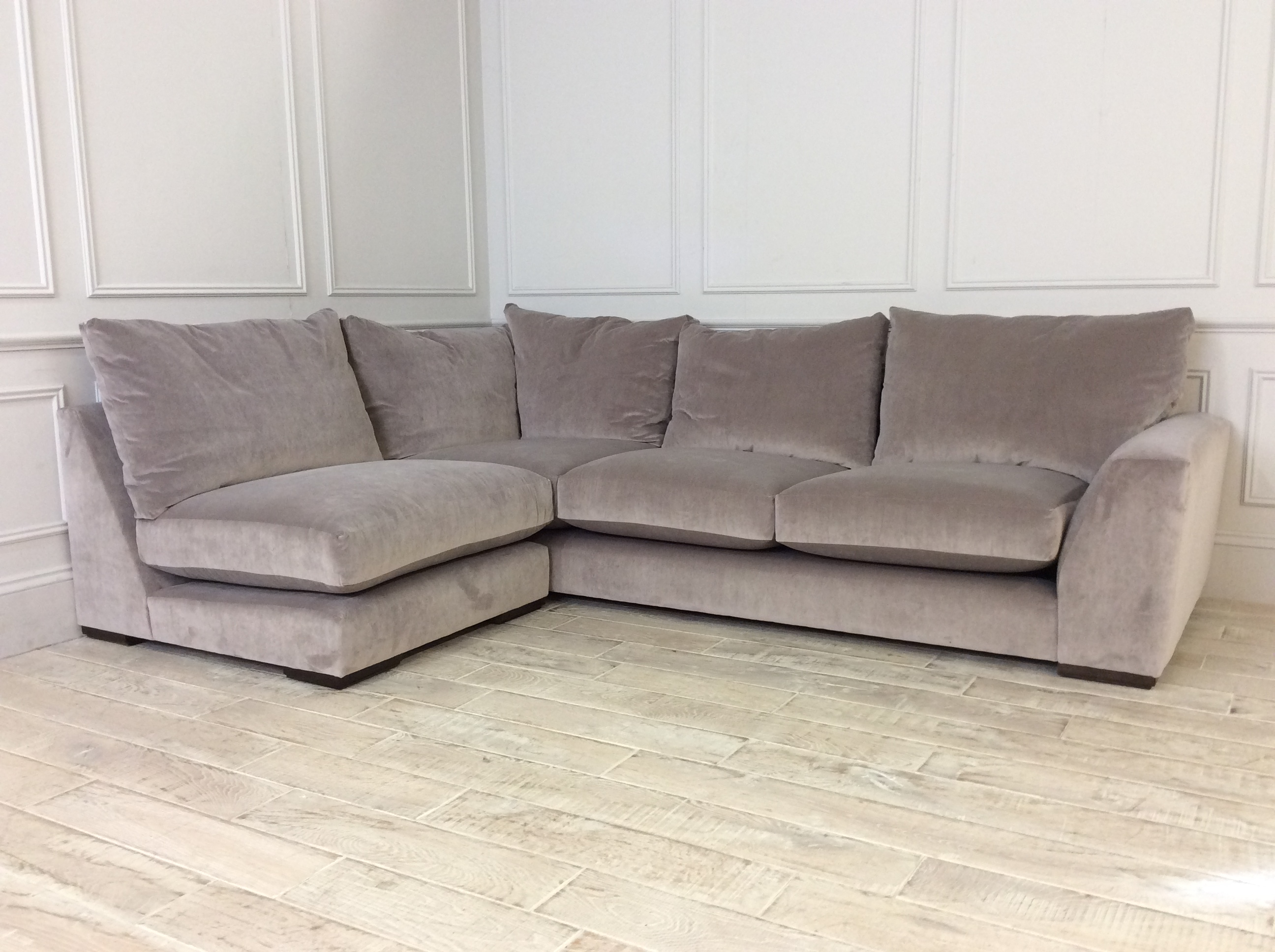 Product photograph showing Kingston Super Grand Corner Unit 1 Arm And Small Armless Unit In Stain Resistant Velvet Pampas