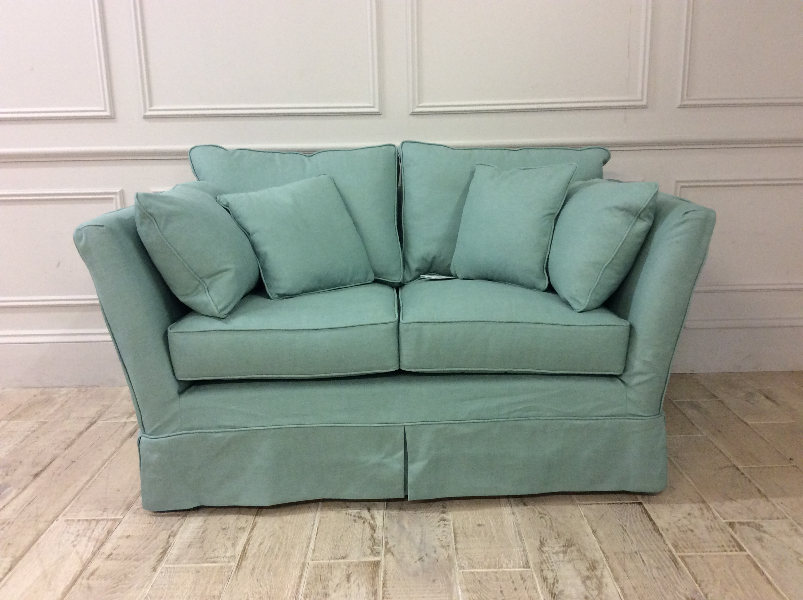 Product photograph showing Charlie Small Sofa In Family Friendly Linen Blend Jade