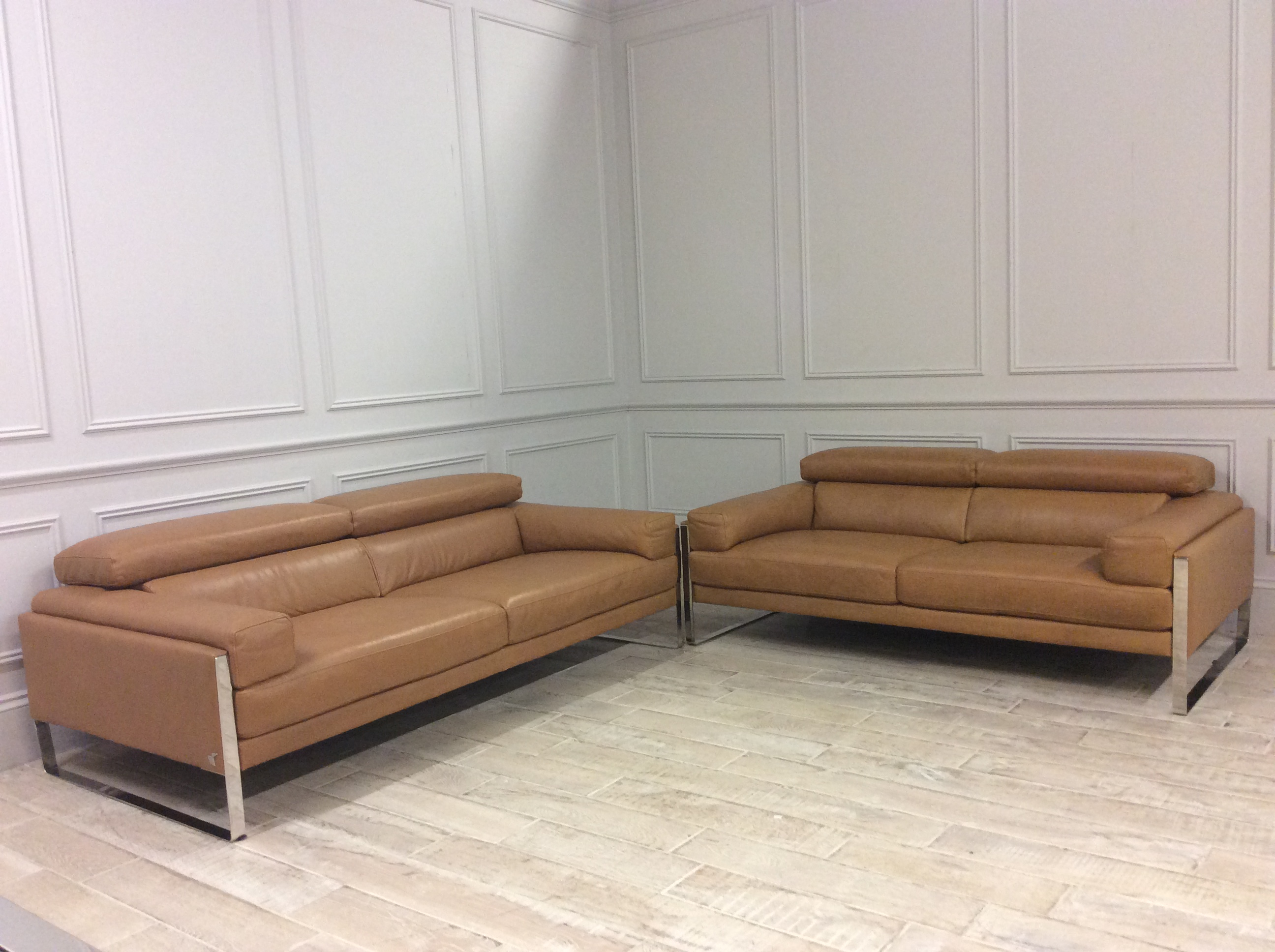 Product photograph showing Rocco 2 And 2 5 Seater Sofas In Karma 600 Tan Leather