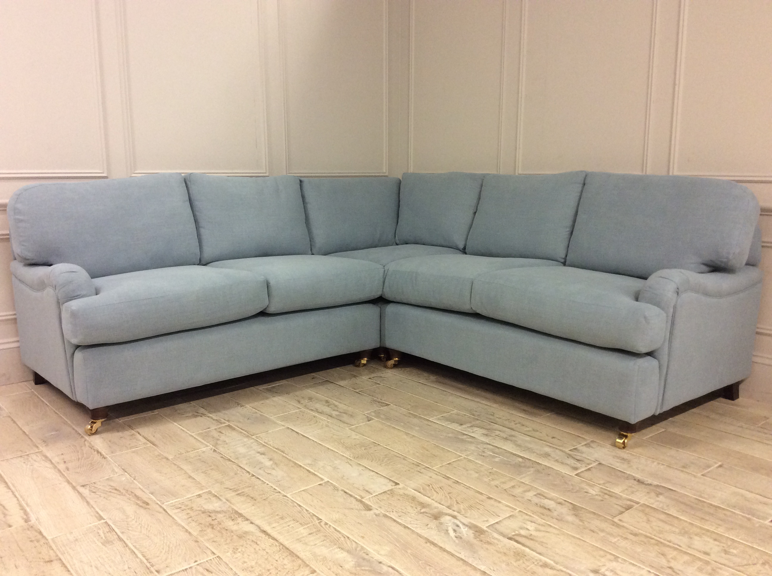 Product photograph showing Helston 2 X 2 Corner Sofa In Easy Clean Soft As Cotton Powder Blue