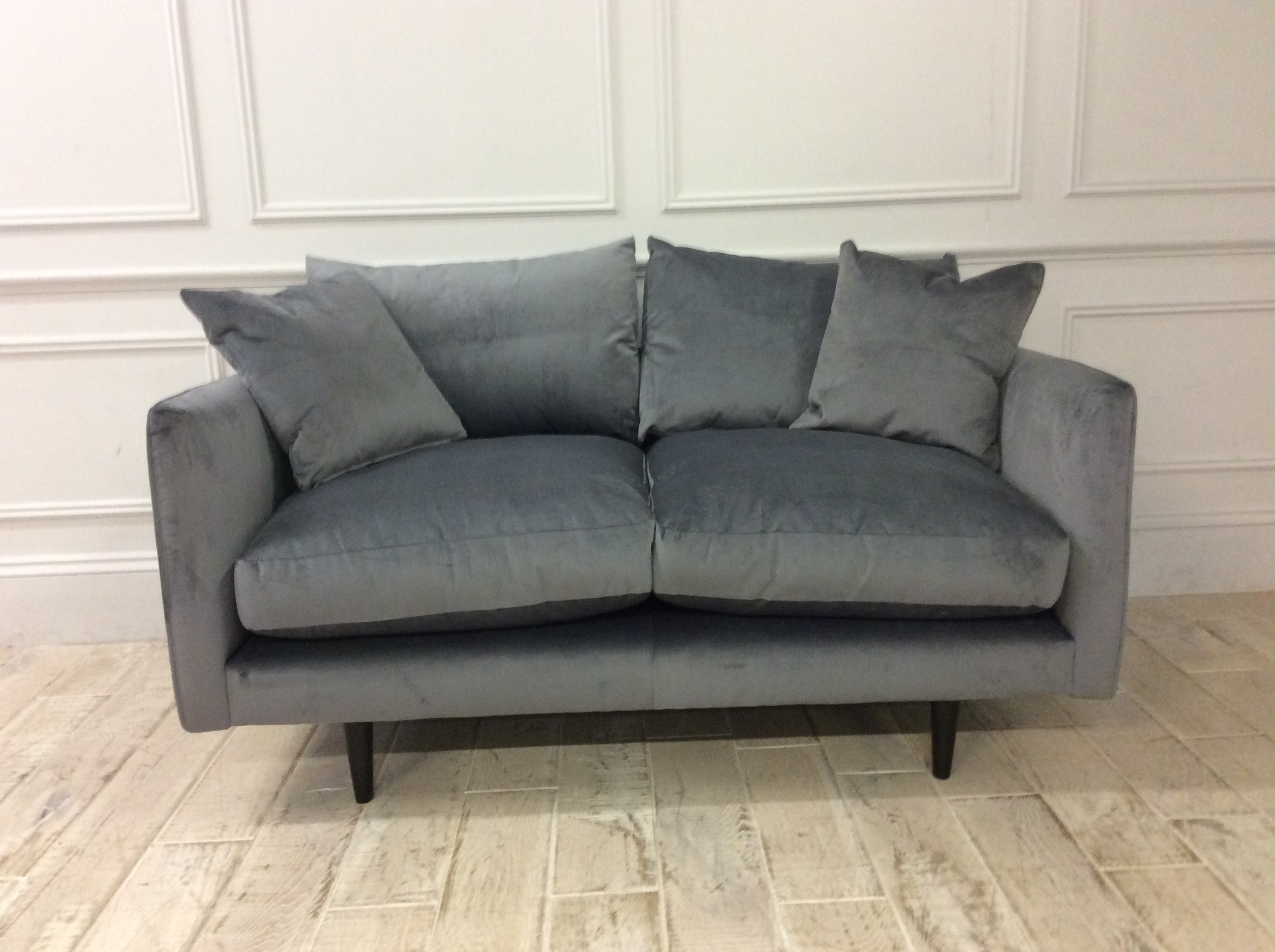 Product photograph showing Kelston Small Sofa In Lumino Charcoal Velvet