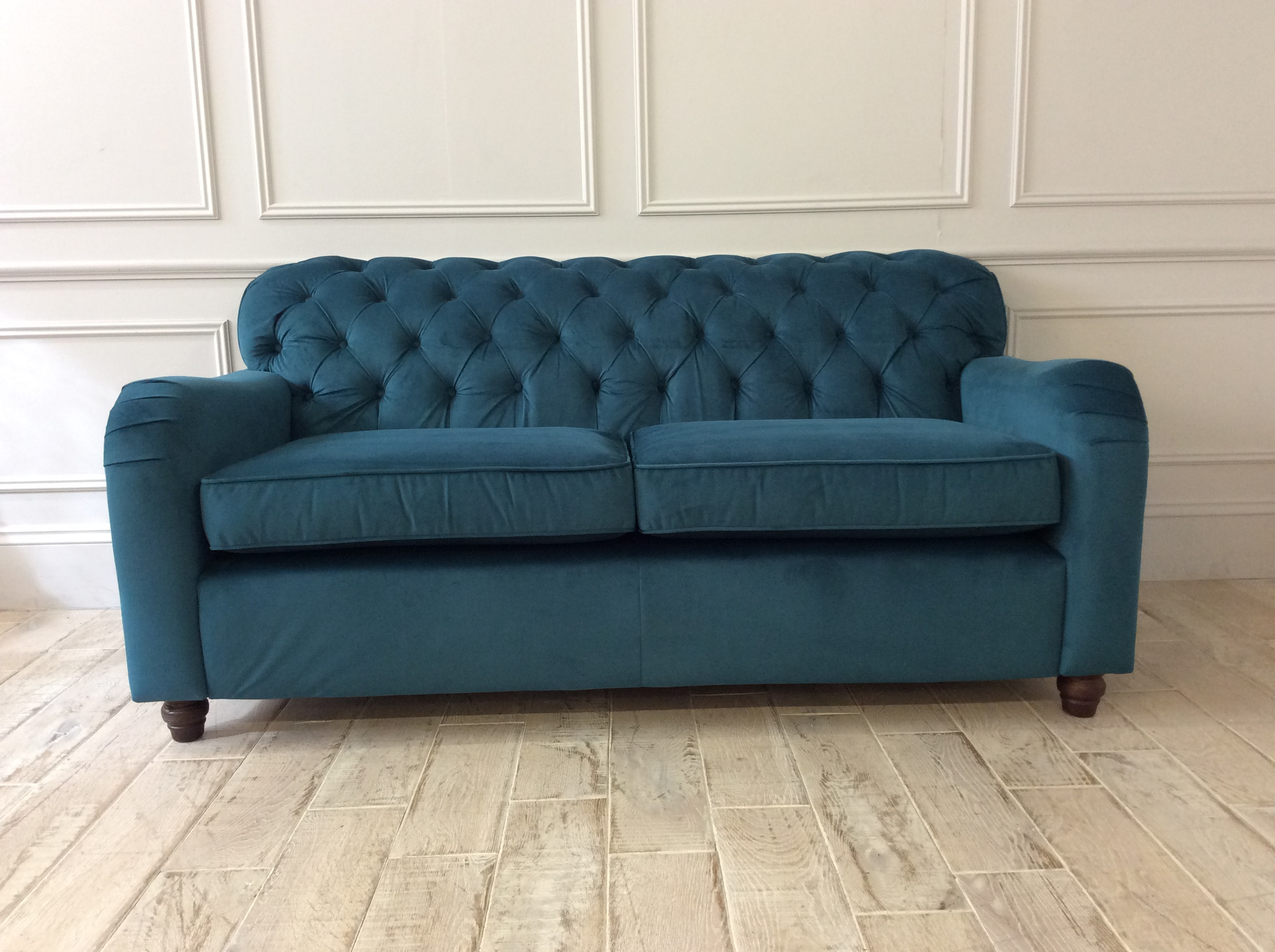 Product photograph showing Bakewell 3 Seater Sofa In Stain Resistant Moleskin Velvet Teal