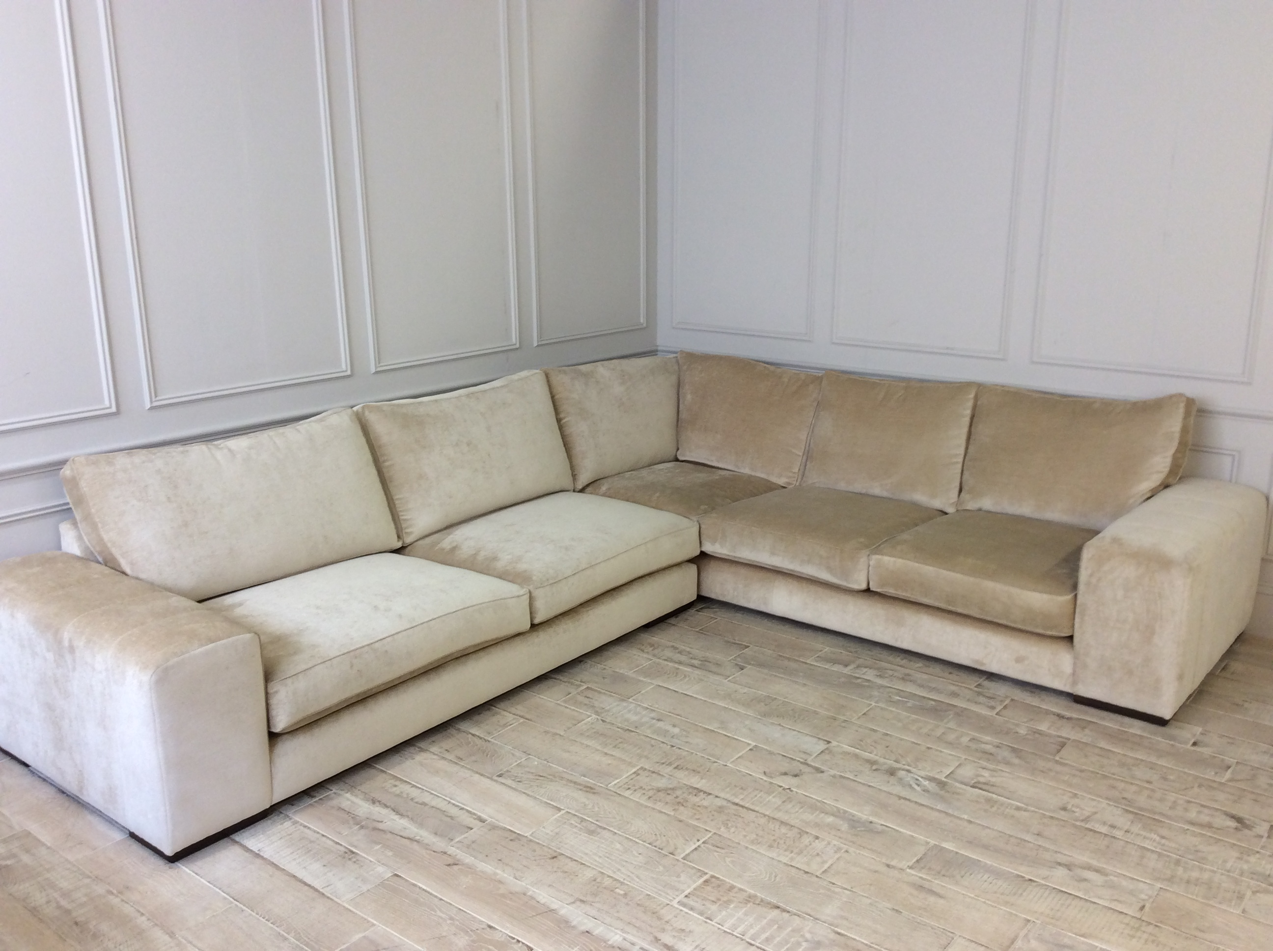 Product photograph showing Epping Large Corner Sofa In Dolce Champagne