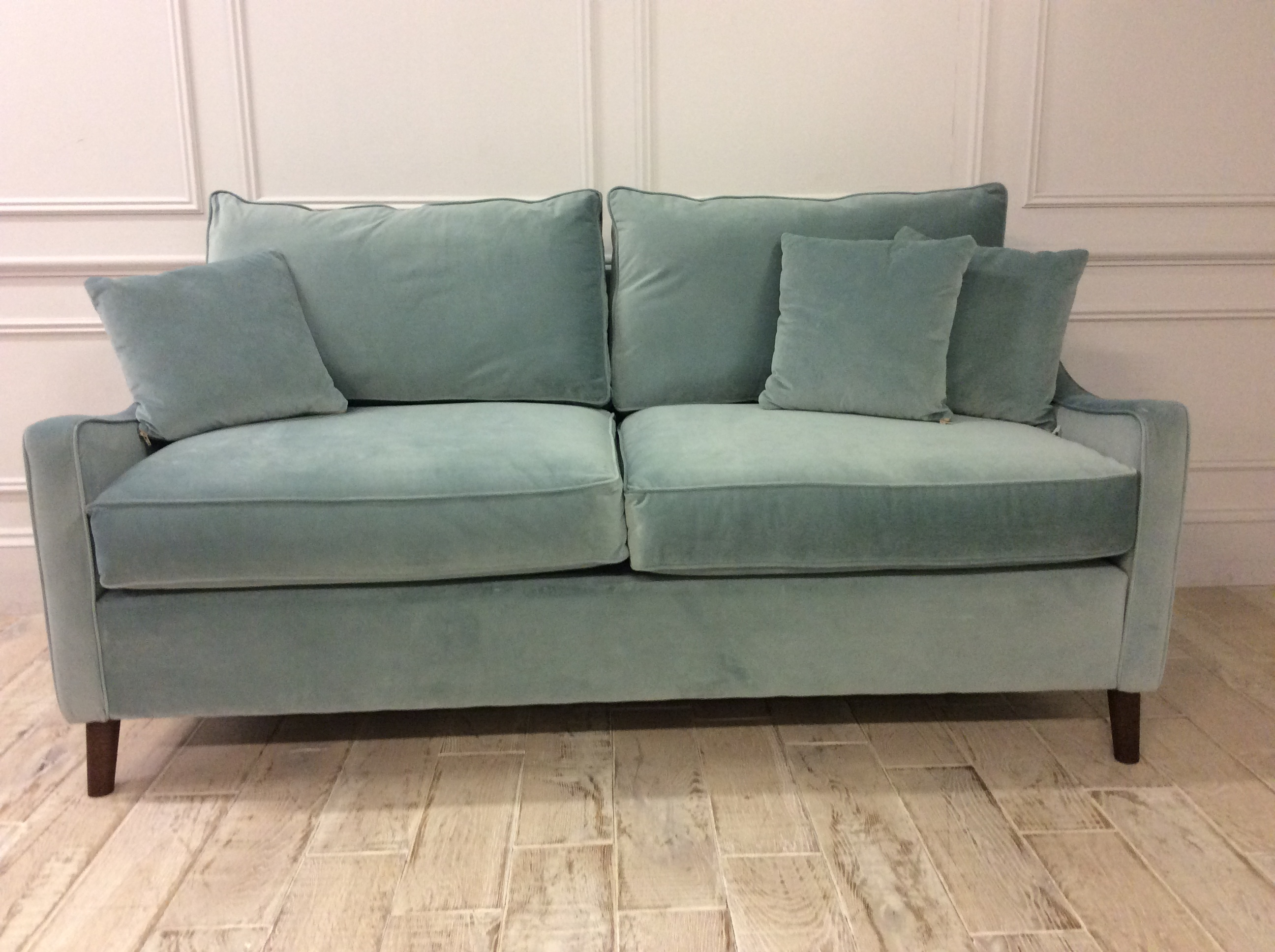 Product photograph showing Weymouth 3 5 Seater Sofa Bed In Passione Airforce Velvet