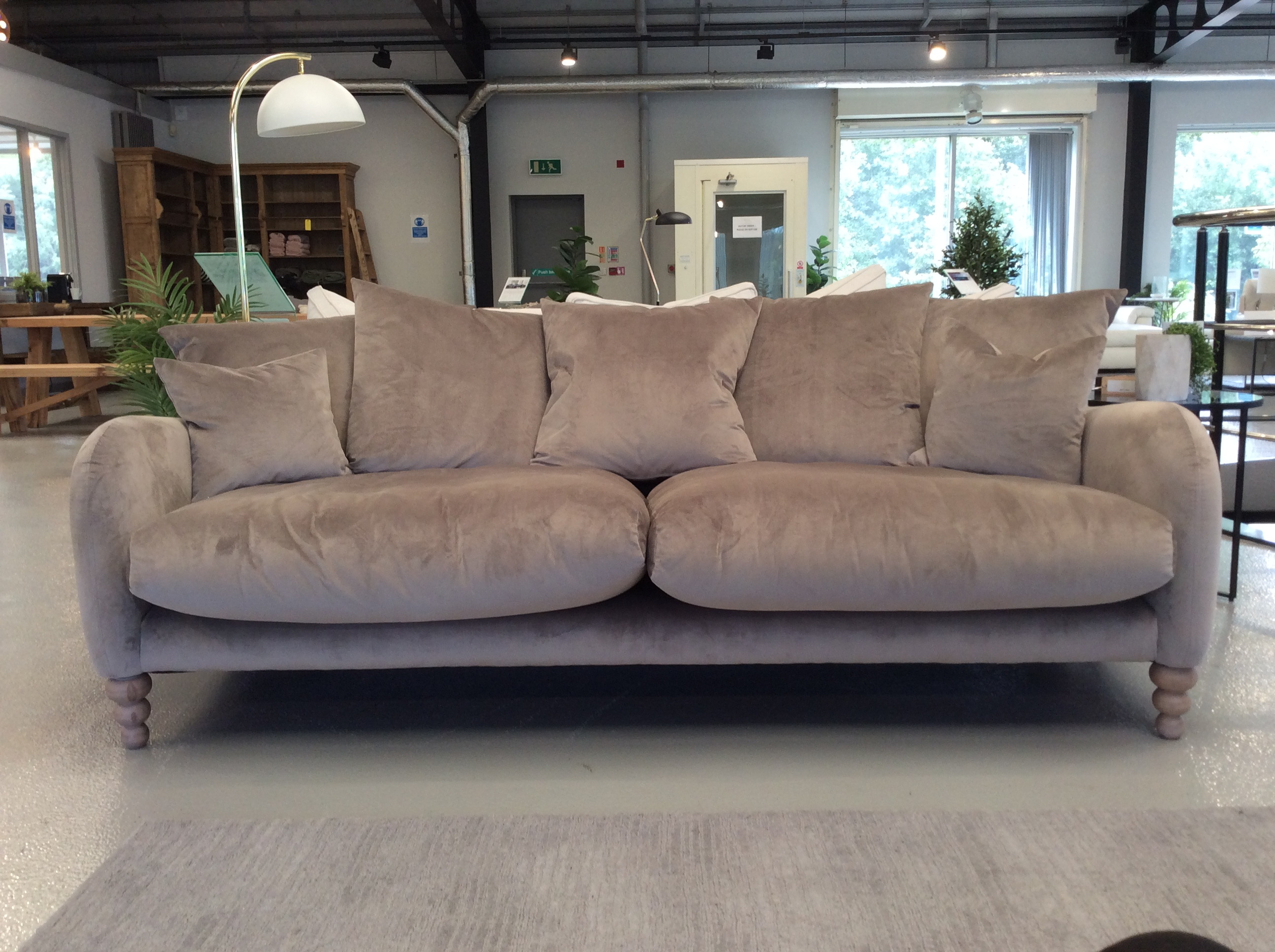 Product photograph showing Weston Scatter Back Extra Large Sofa In Lumino Mink Velvet