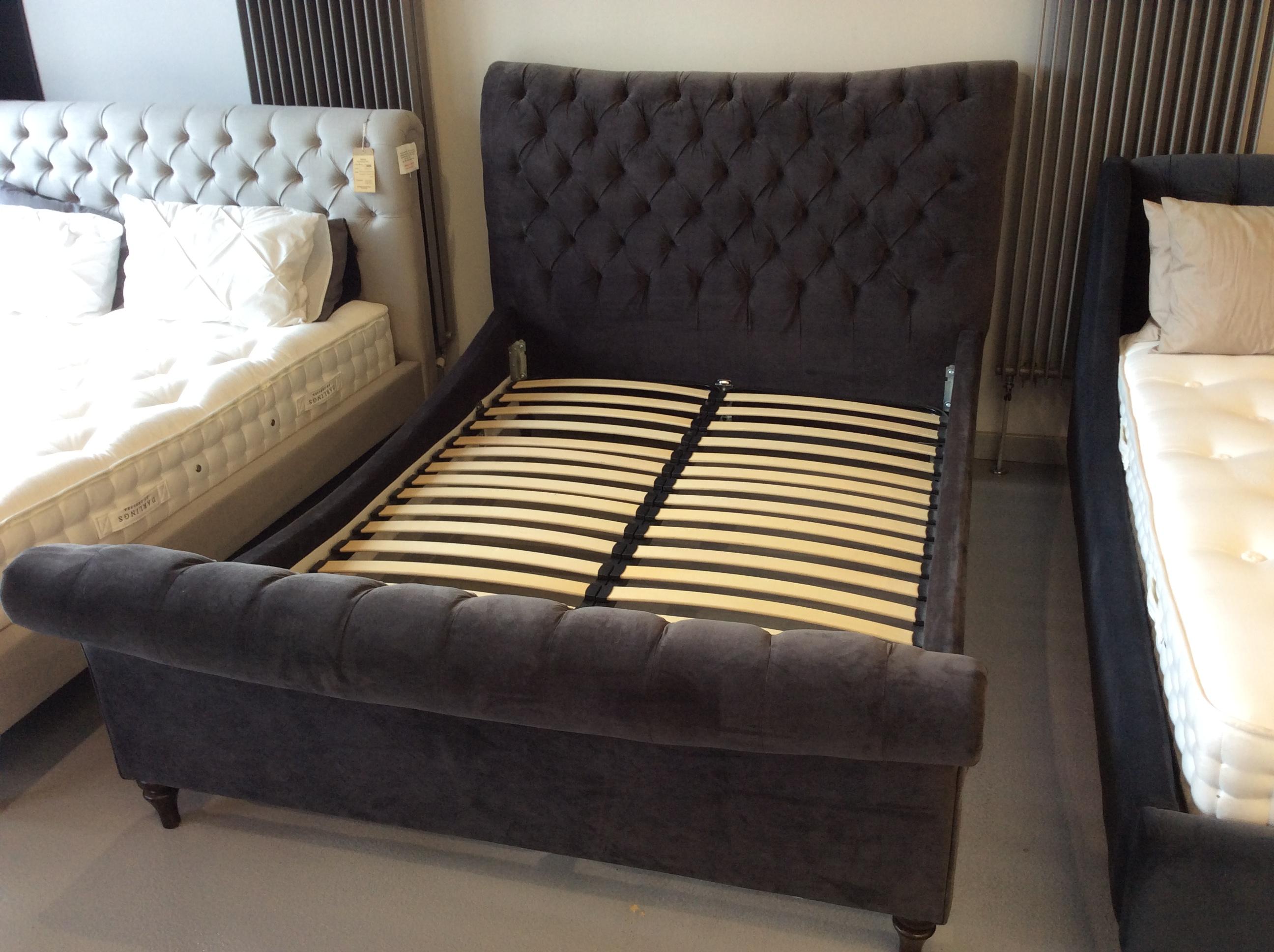 Product photograph showing Hurlingham Super King Size Bed Frame In Hard Wearing Velvet Asphalt