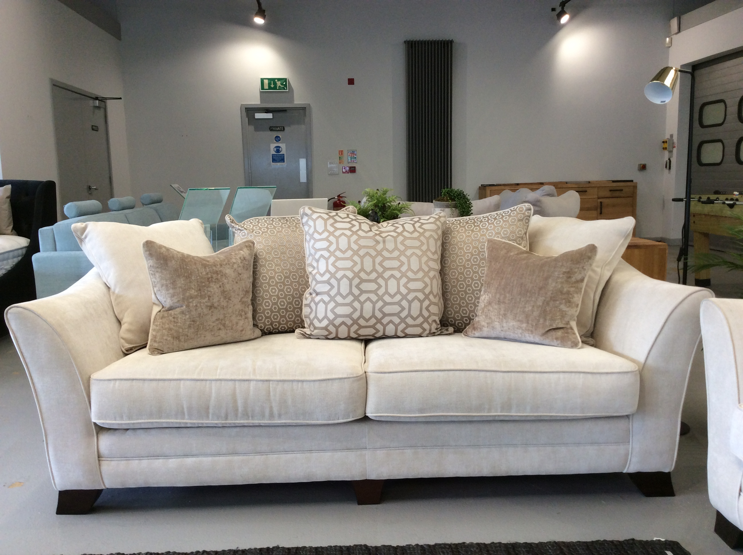 Product photograph showing Hardy 4 Seater Pillow Back Sofa In Sherlock Plain Pearl