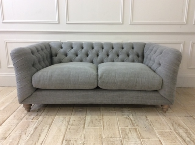Product photograph showing Dulwich Petit Sofa In Linen Mix Pigeon