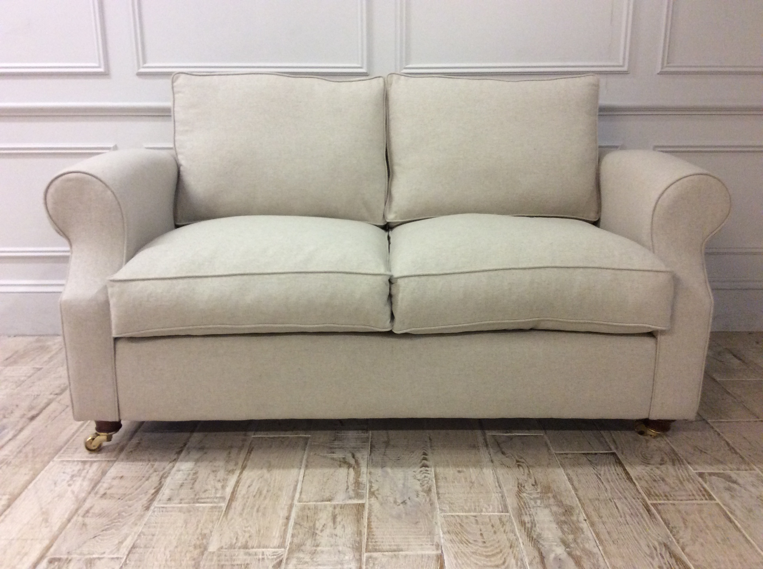 Product photograph showing Kendal 2 Seater Sofa Bed In Wool - Ecru