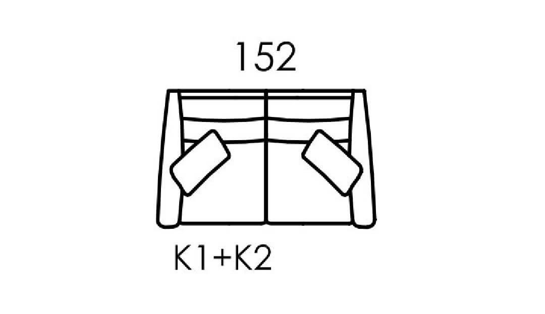 Product photograph showing Hugo Small Sofa K1 K2
