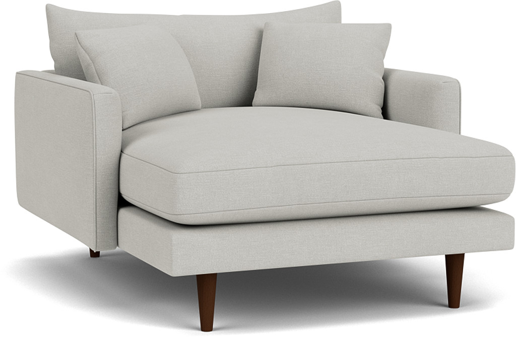 the kelston loveseat chaise sofa in easy clean soft as cotton cambridge blue with dark oak feet