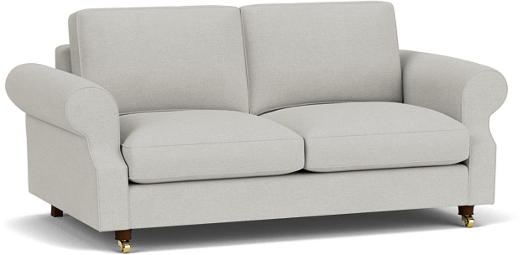 the kendal 3 seater sofa in easy clean soft as cotton cambridge blue with dark oak feet