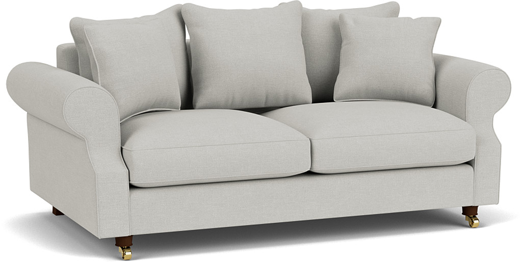 the kendal 3.5 seater scatter back sofa in easy clean soft as cotton cambridge blue with dark oak feet