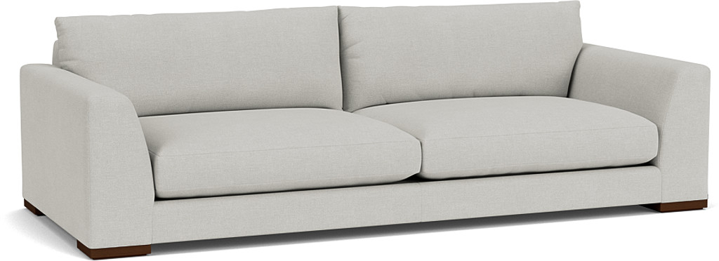 the kingston grand sofa in easy clean soft as cotton cambridge blue with dark oak feet
