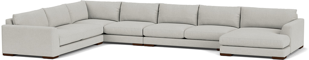 the kingston large u-shaped sofa in easy clean soft as cotton cambridge blue with dark oak feet