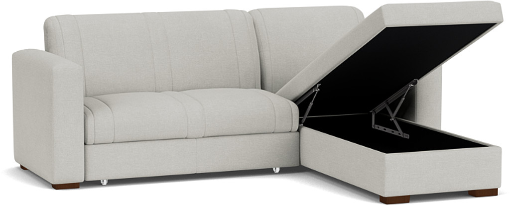 the launceston 2 seater storage chaise sofa bed in easy clean soft as cotton cambridge blue with dark oak feet
