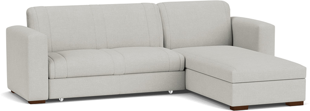 the launceston 3.5 seater storage chaise sofa bed in easy clean soft as cotton cambridge blue with dark oak feet