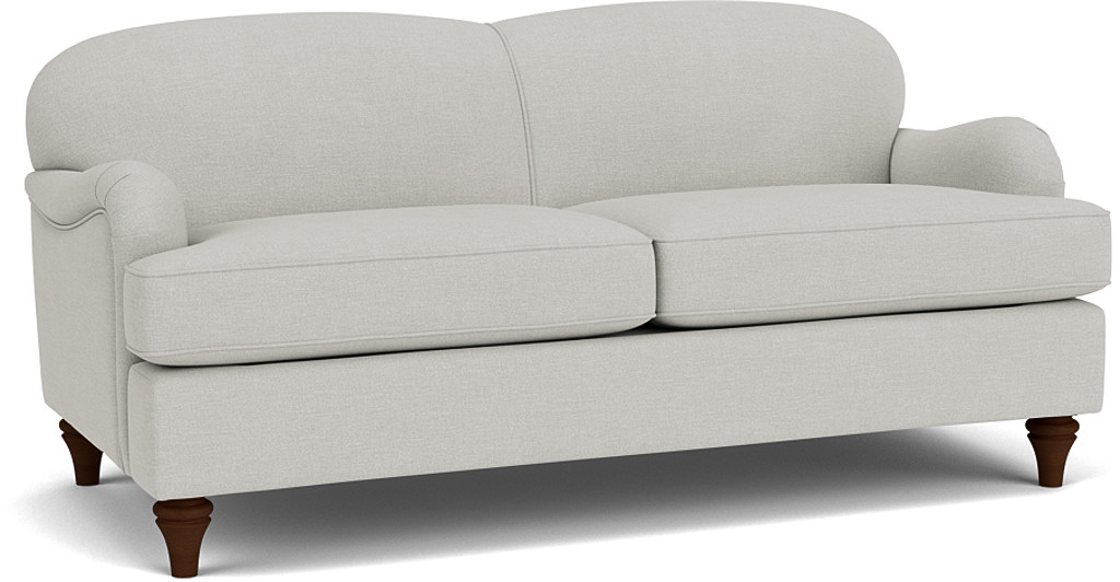 the lincoln 3.5 seater sofa in easy clean soft as cotton in cambridge blue with dark oak feet