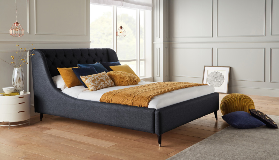Perth Bed frame in Shetland Navy with Walnut and Brass Legs