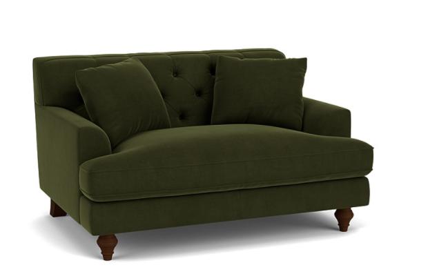 Charnwood Love Seat in Easy Clean Plush Velvet Juniper