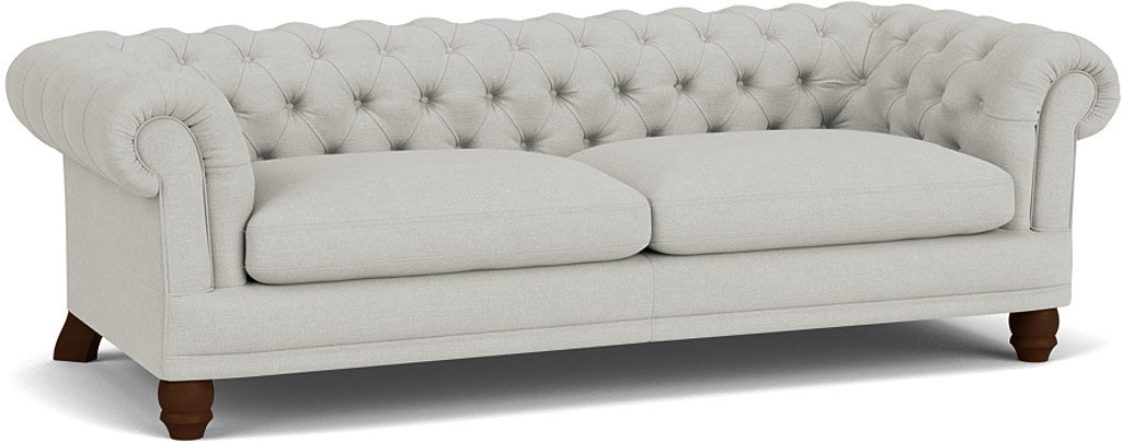 the cairness large sofa in easy clean soft as cotton cambridge blue with dark oak feet