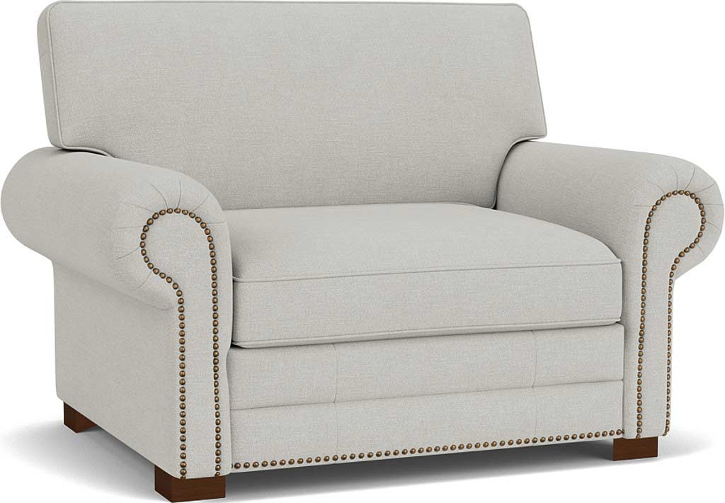 the canterbury loveseat in easy clean soft as cotton cambridge blue with dark oak feet